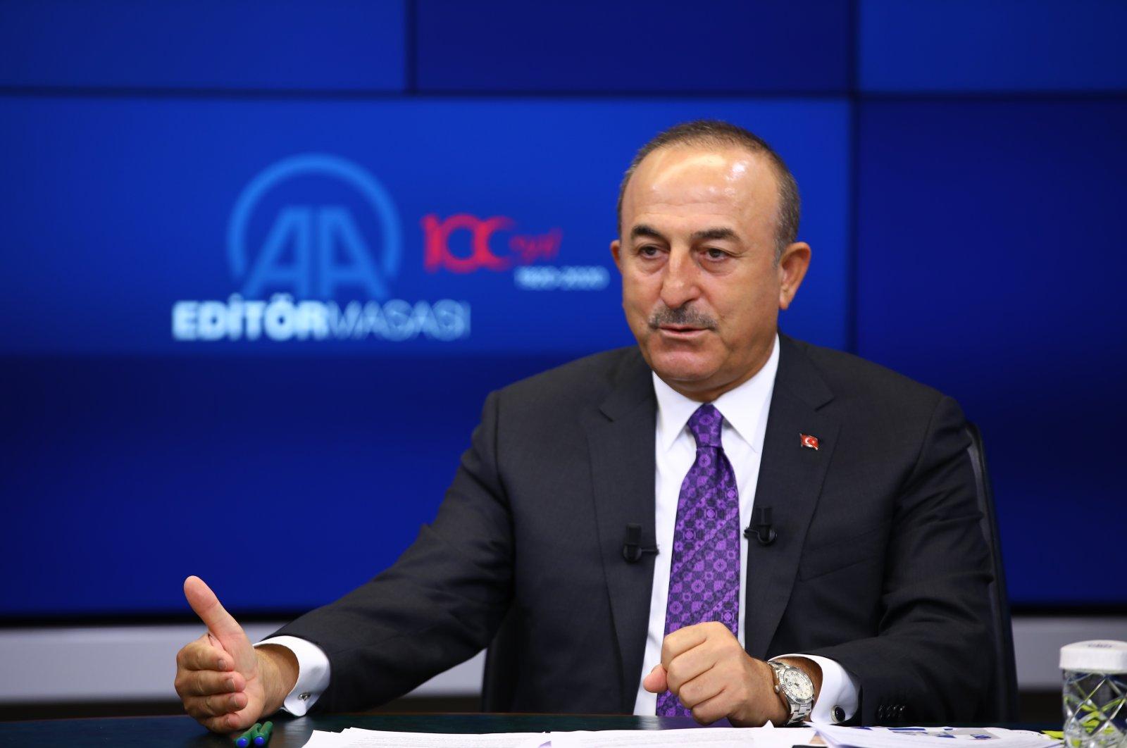 Foreign Minister Mevlüt Çavuşoğlu speaks at Anadolu Agency's Editor's Desk, Ankara, Sept. 30, 2020. (AA Photo)