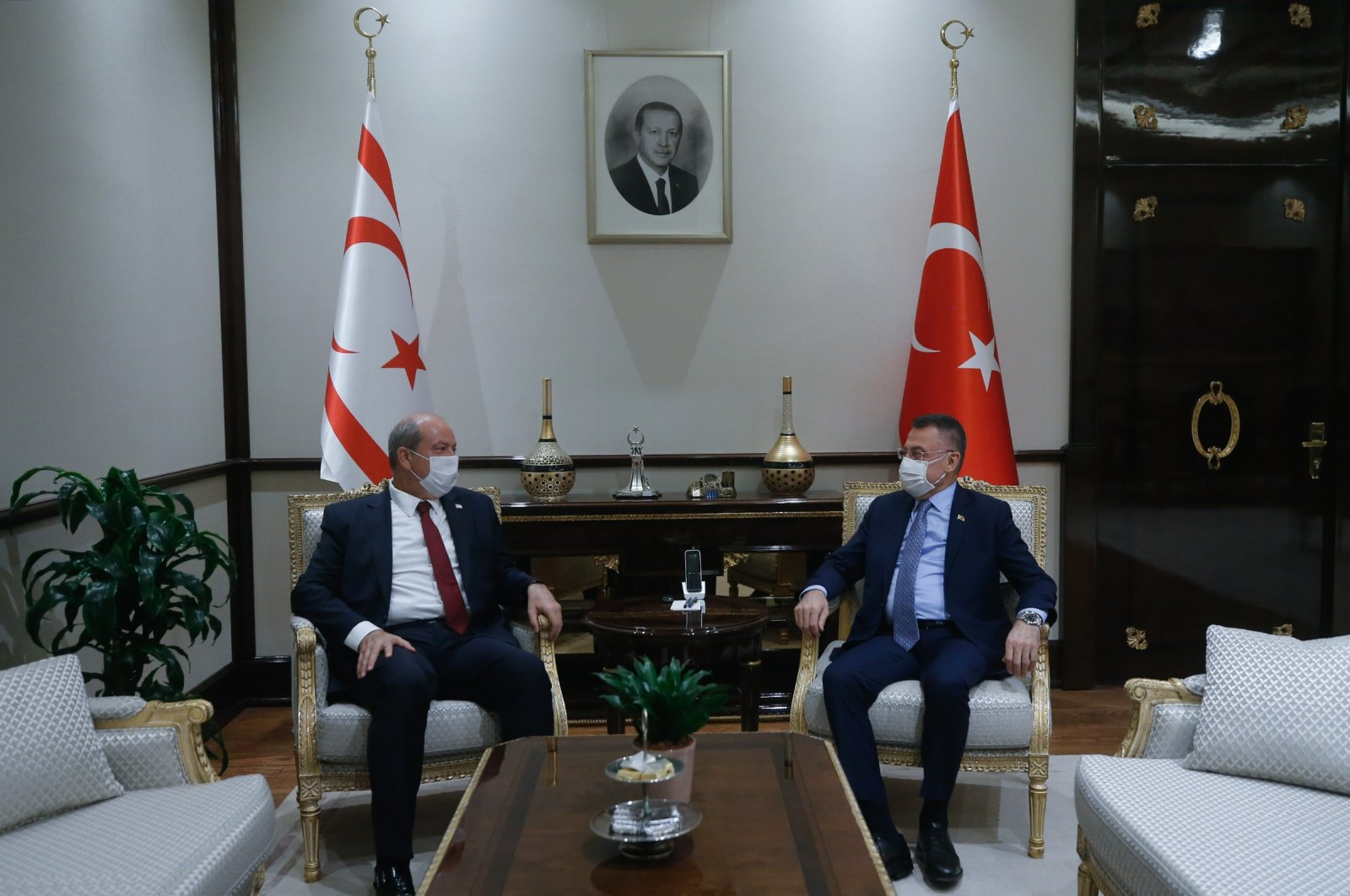 Vice President Fuat Oktay (R) hosts the Turkish Republic of Northern Cyprus (TRNC) Prime Minister Ersin Tatar in the capital Ankara, Sept. 29, 2020. (AA Photo)