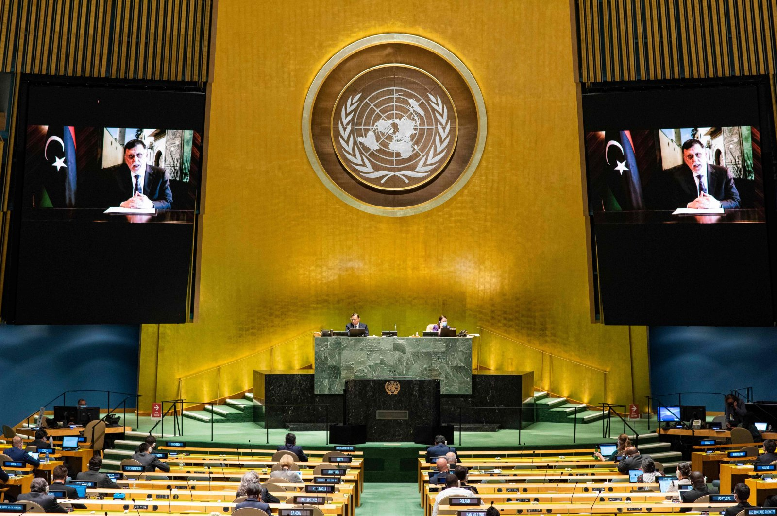 Libya's Prime Minister Fayez Sarraj virtually addresses the general debate of the 75th session of the United Nations General Assembly in New York, Sept. 24, 2020. (AFP Photo)