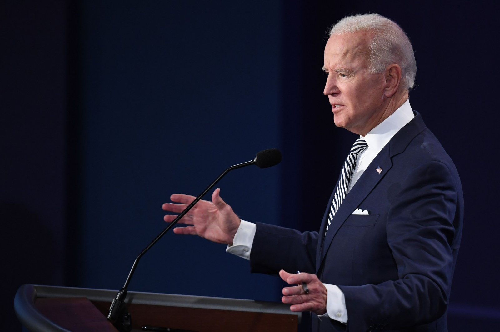 Democratic presidential candidate and former U.S. Vice President Joe Biden speaks during the first presidential debate at Case Western Reserve University and Cleveland Clinic in Cleveland, Ohio, on Sept. 29, 2020. (AFP Photo)