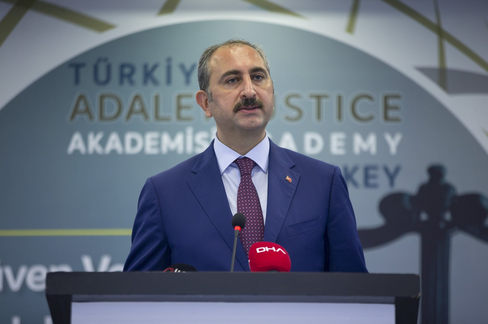 Turkish Justice Minister Abdulhamit Gül speaks at an event in the Justice Academy of Turkey, Sept.10, 2020. (AA)