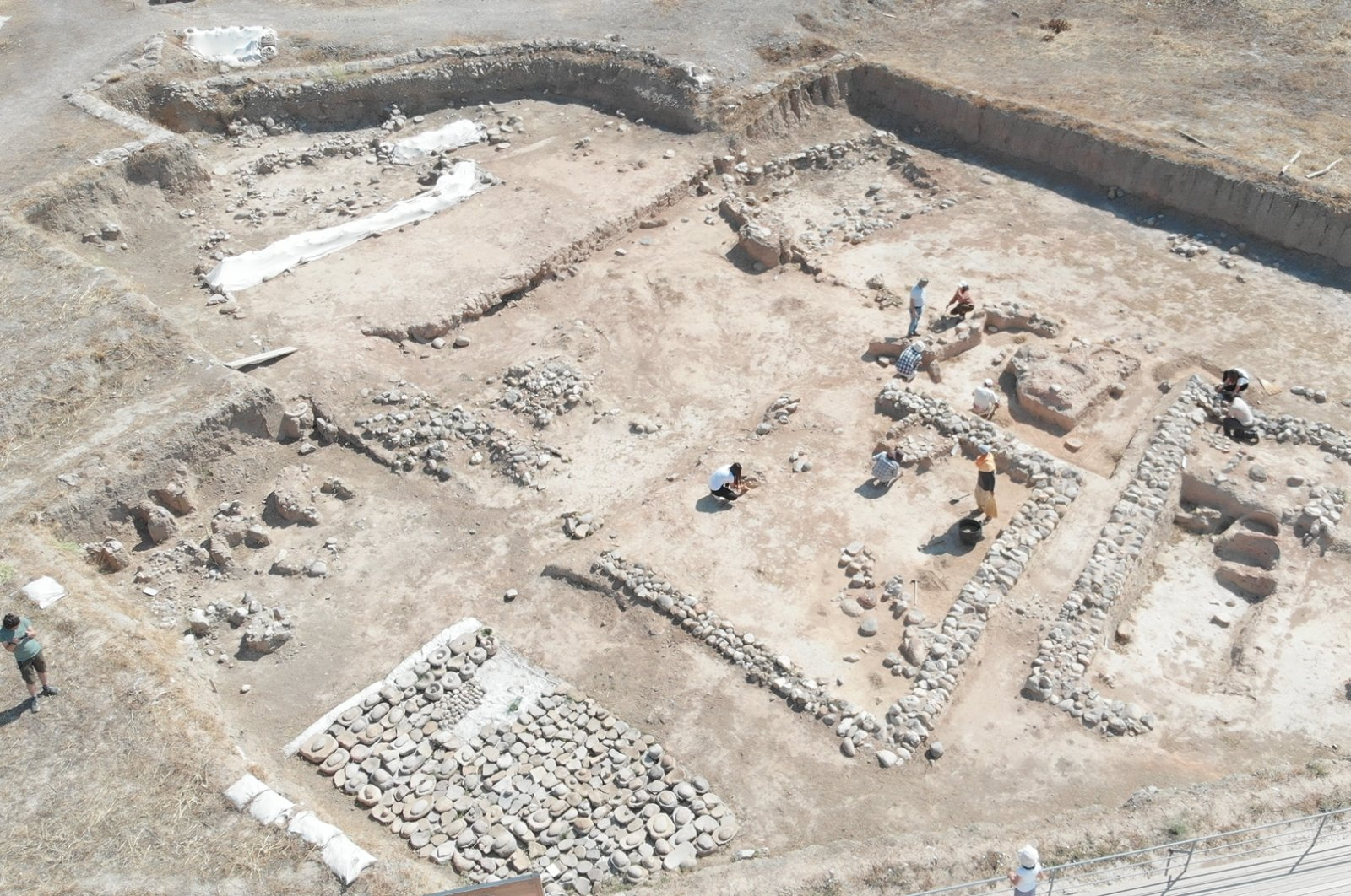 A still shot from the documentary showing excavations of Neolithic settlements in Yeşilova Mound, İzmir, western Turkey.