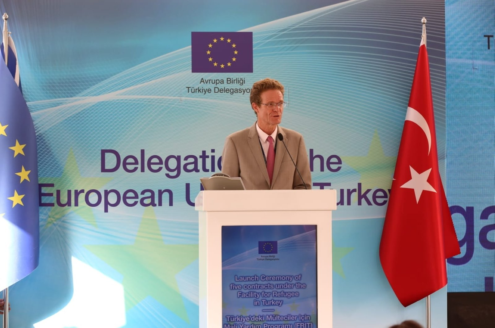 Head of the EU Delegation to Turkey Ambassador Nikolaus Meyer-Landrut announced five new projects for refugees in Turkey, Sept. 29, 2020 (Courtesy of the EU delegation in Turkey)
