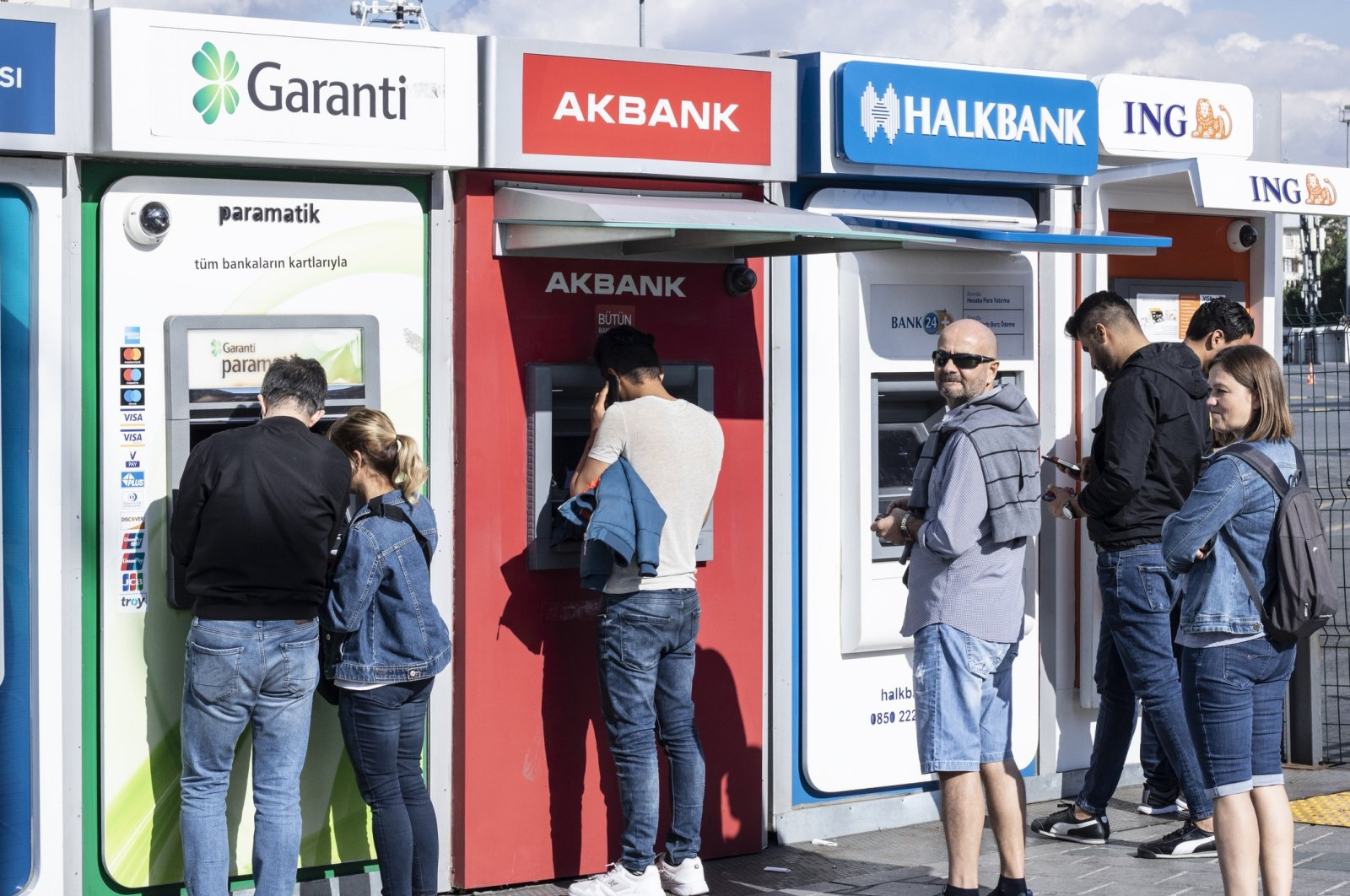 People are seen in front of bank ATMs in Istanbul, Turkey, Oct. 6, 2019. (iStock Photo)