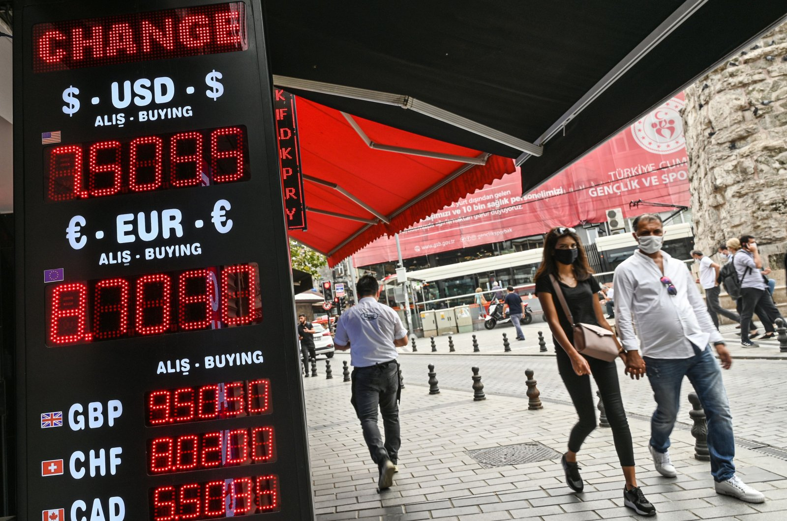 People walk past a screen showing rates at a currency exchange agency near the Grand Bazaar, Istanbul, Sept. 24, 2020. (AFP Photo)