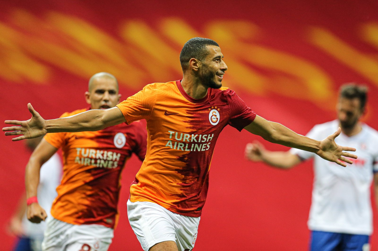 Galatasaray's Younes Belhanda celebrates a goal during a UEFA Europa League qualifying match against Hajduk Split, in Istanbul, Turkey, Sept. 24, 2020. (AA Photo)