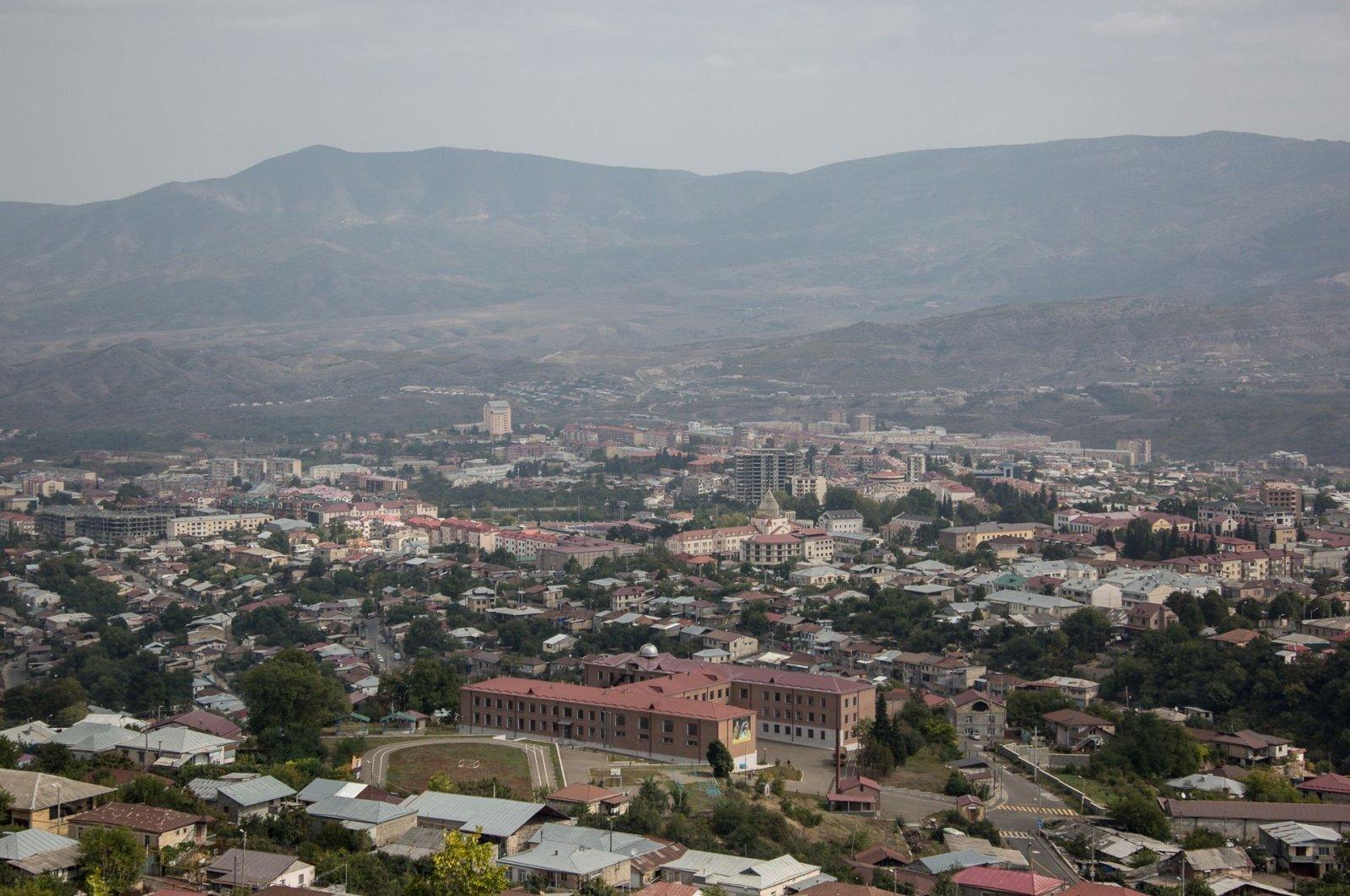 Aerial view of Stepanakert, in occupied Nagorno-Karabakh, Azerbaijan, Sept. 29, 2020. (AFP Photo/Press service of Armenia's government)