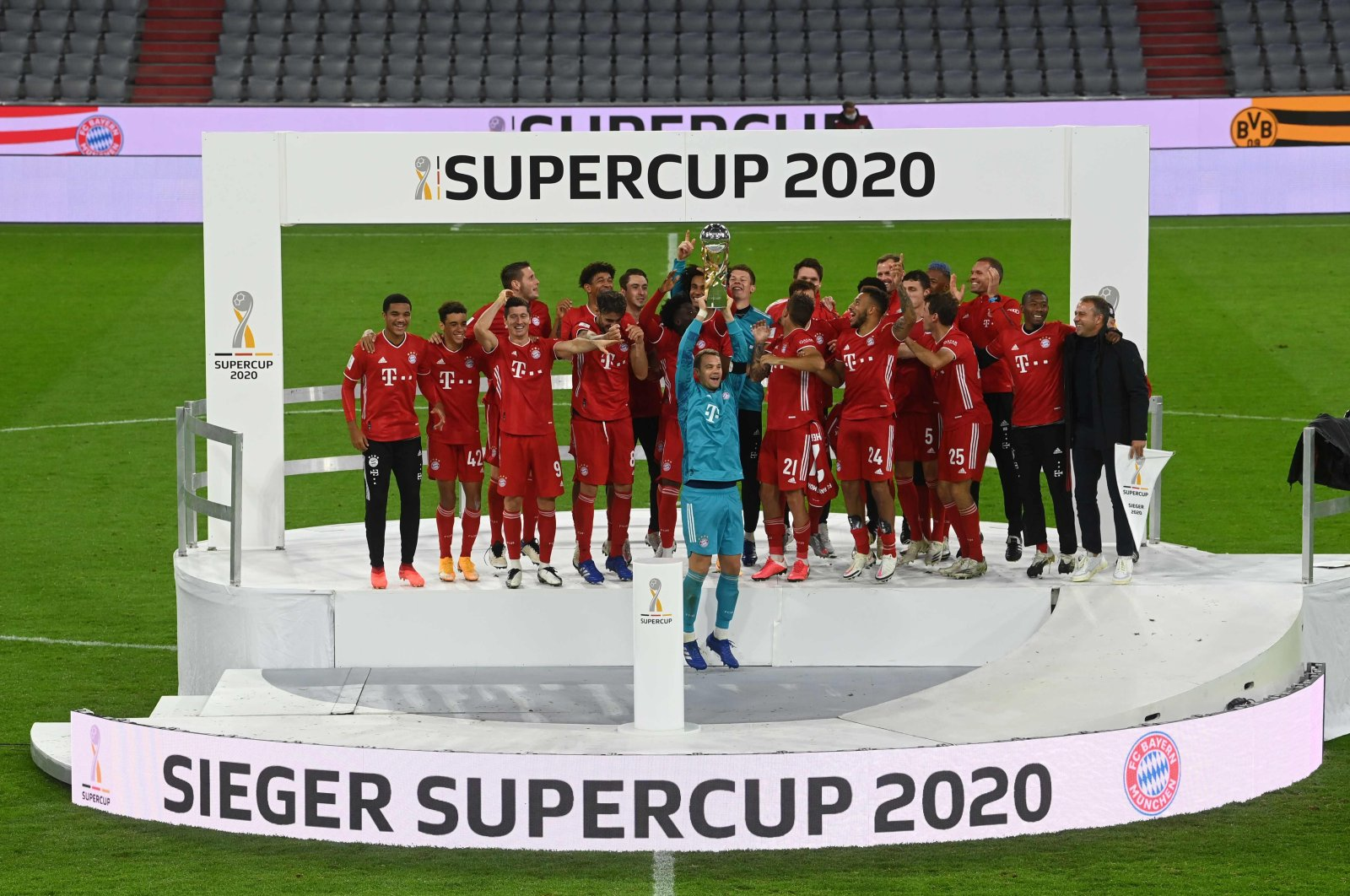 Bayern Munich celebrates winning the German Super Cup trophy at the Allianz Arena in Munich, Germany, Sept. 30, 2020. (AFP Photo)