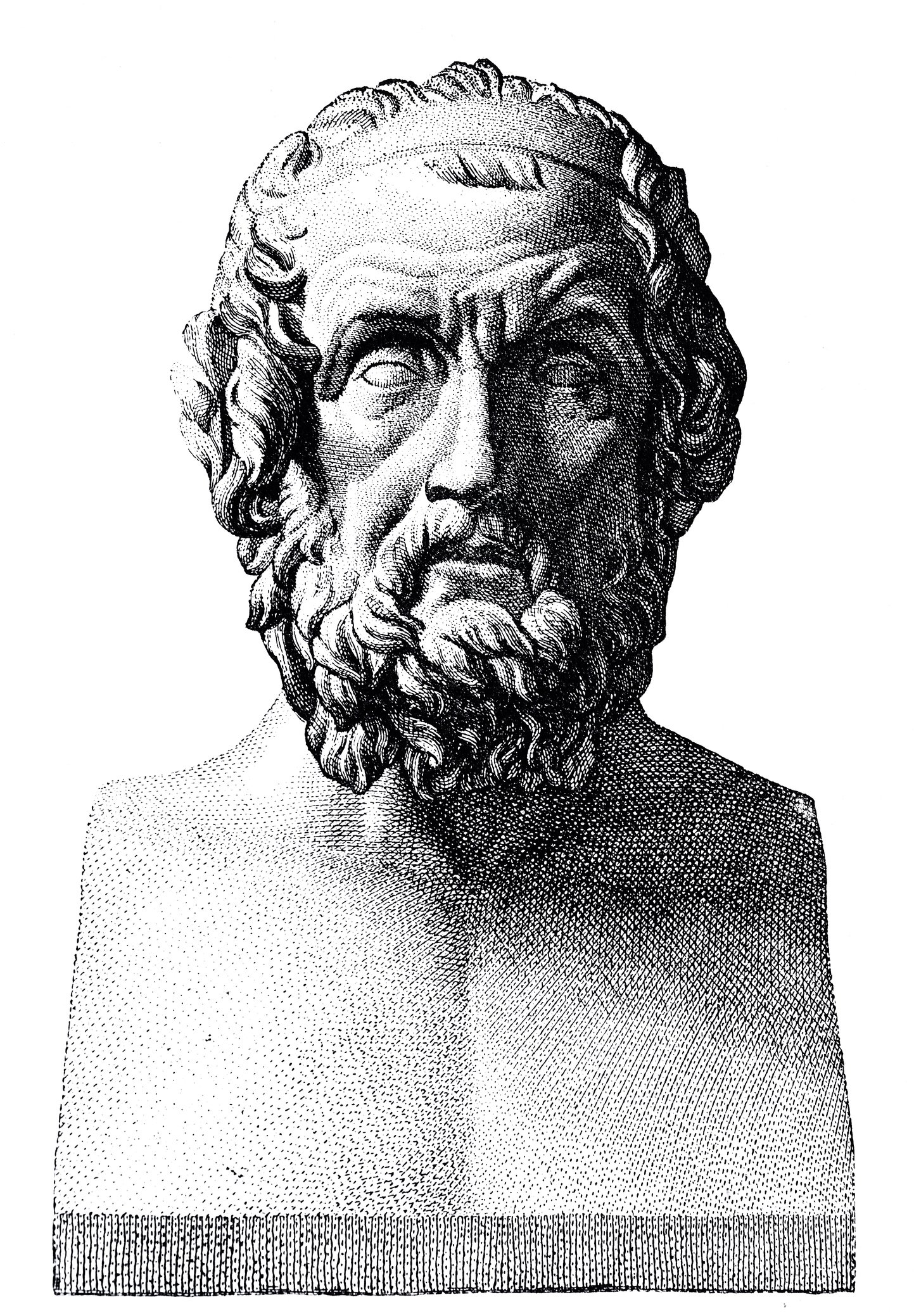 The bust of philosopher Homer, the presumed author of