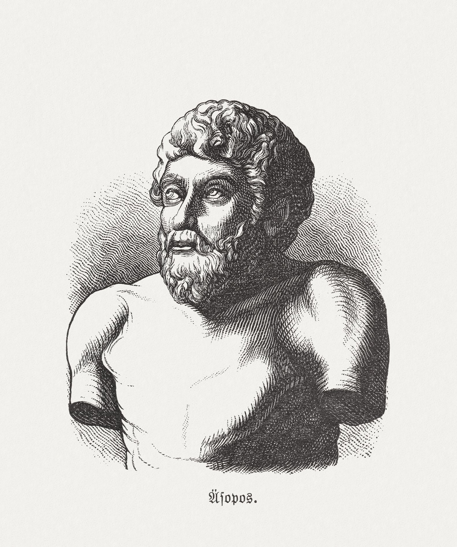 Wood engraving of Greek fabulist and storyteller Aesop (circa 620 B.C. - 564 B.C.) in the Collection of Villa Albani, Rome, Italy, published in 1893. (iStock Photo)