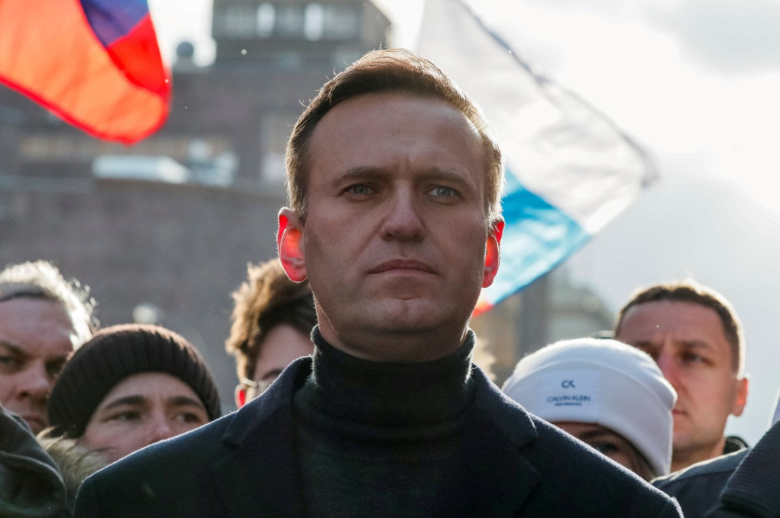 Russian opposition politician Alexei Navalny takes part in a rally to mark the fifth anniversary of opposition politician Boris Nemtsov's murder and to protest against proposed amendments to the country's constitution, in Moscow, Russia, Feb. 29, 2020. (Reuters Photo)