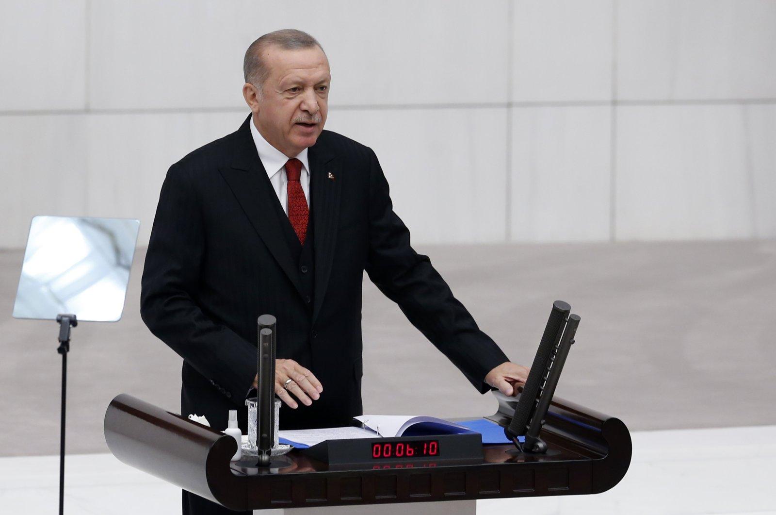 President Recep Tayyip Erdoğan speaks at the inauguration ceremony of the fourth legislative session of the Turkish Parliament in Ankara, Turkey, Oct. 1, 2020. (AA Photo)