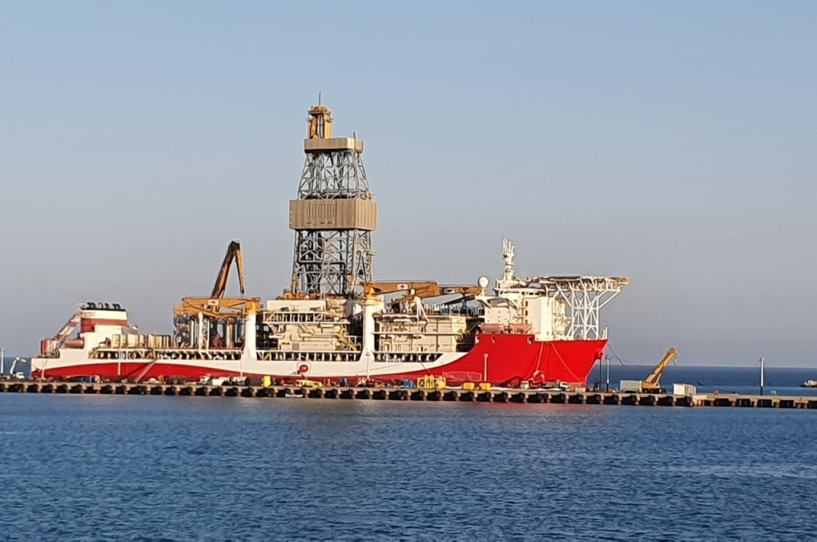 The drillship Kanuni at sea in southern Mersin province, Turkey, Sept. 9, 2020 (DHA Photo)