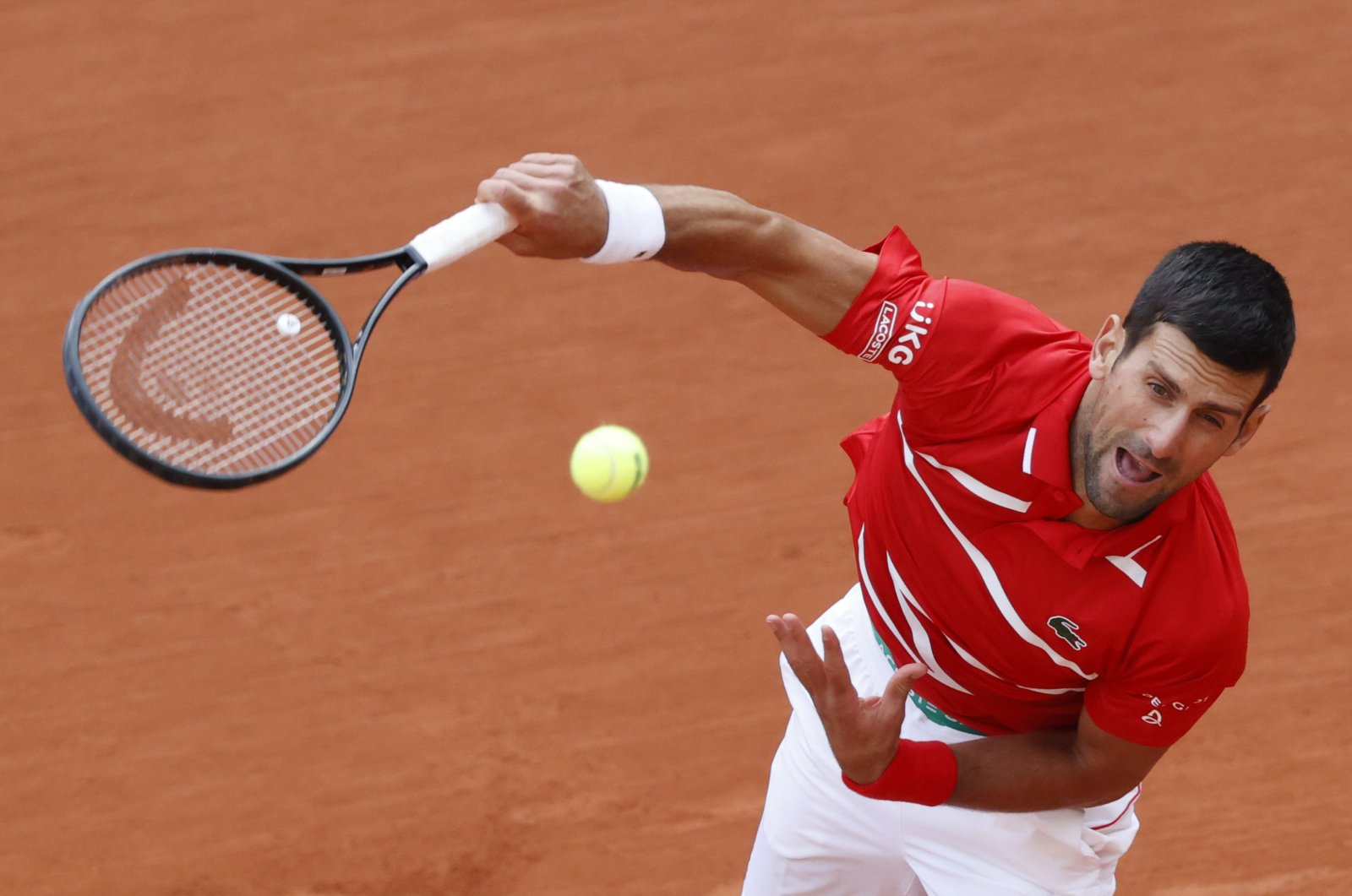 Novak Djokovic in action during his French Open match against Ricardas Berankis, in Paris, France, Oct. 1, 2020. (Reuters Photo)