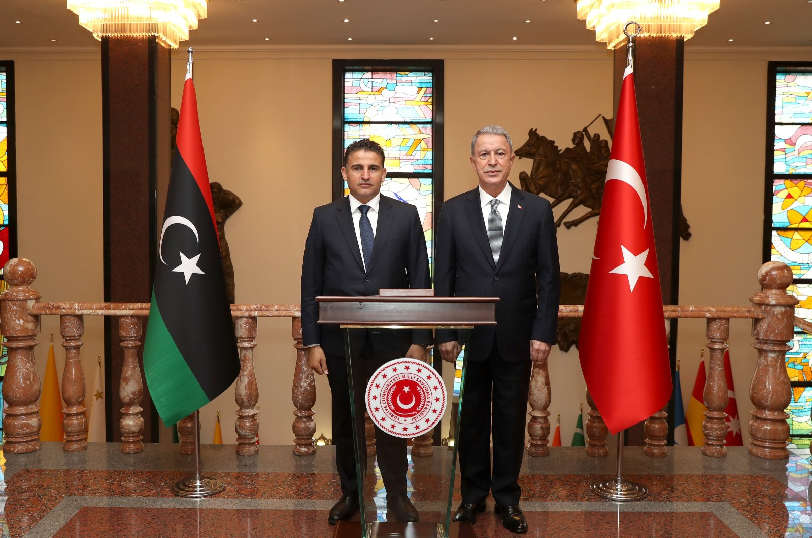 Defense Minister Hulusia Akar receives his Libyan counterpart Salahaddin Namroush in the capital Ankara, Oct. 1, 2020. (AA Photo)