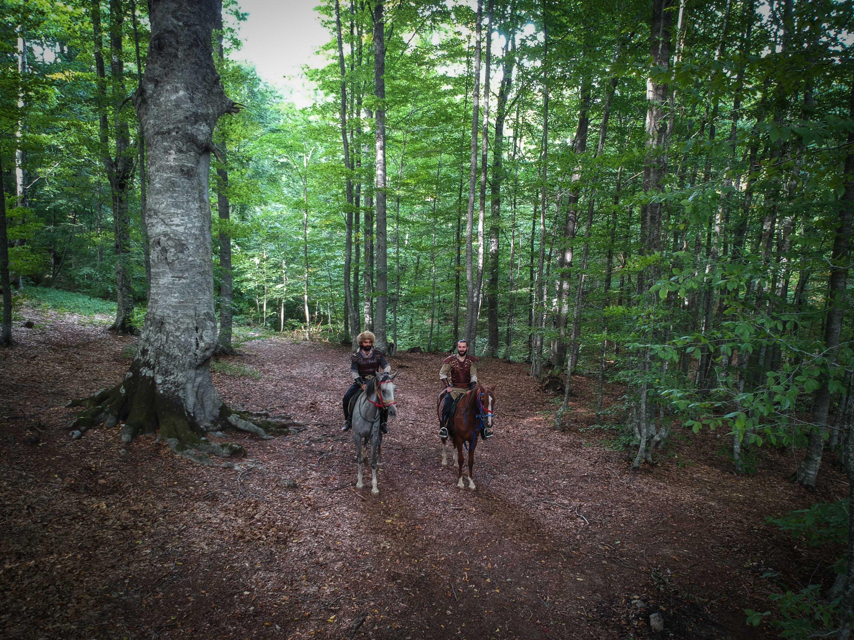 Dua pria menunggang kuda terlihat di antara pepohonan di jalur migrasi, provinsi Kütahya, Turki barat, 1 Oktober 2020. (Foto AA)