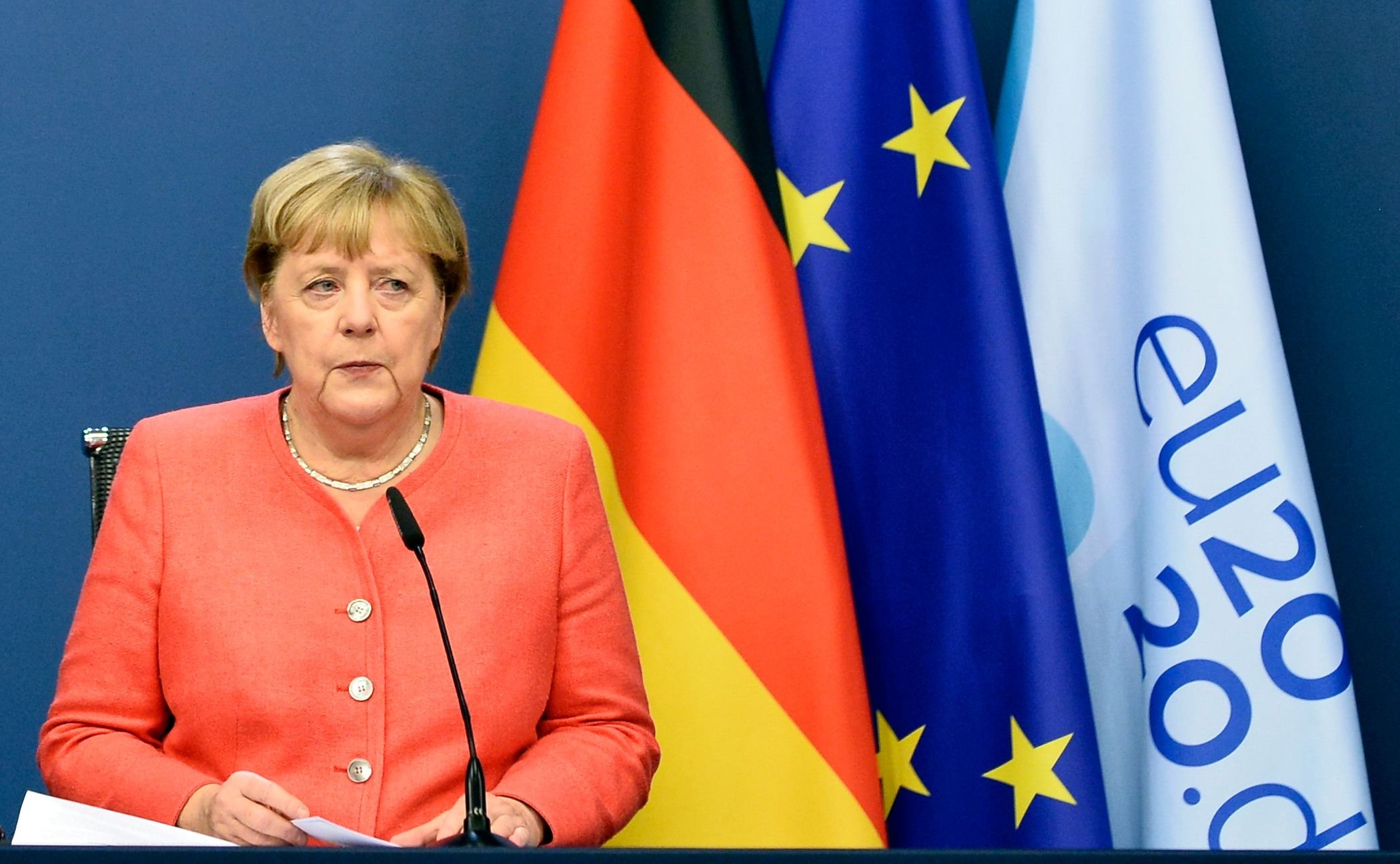 Germany's Chancellor Angela Merkel speaks at a press conference on the second day of a European Union (EU) summit at The European Council Building in Brussels, Oct. 2, 2020.  (AFP)