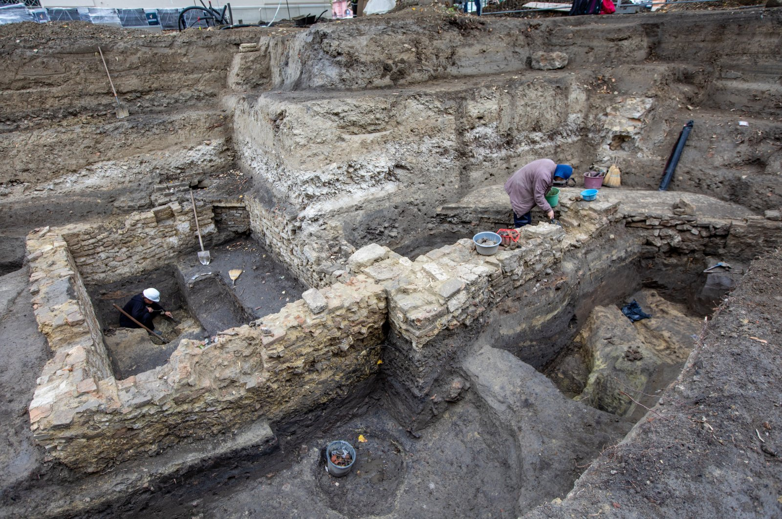 The excavation site of an Ottoman-era tannery building unearthed in Szeged, Hungary, Oct. 1, 2020. (AA Photo)