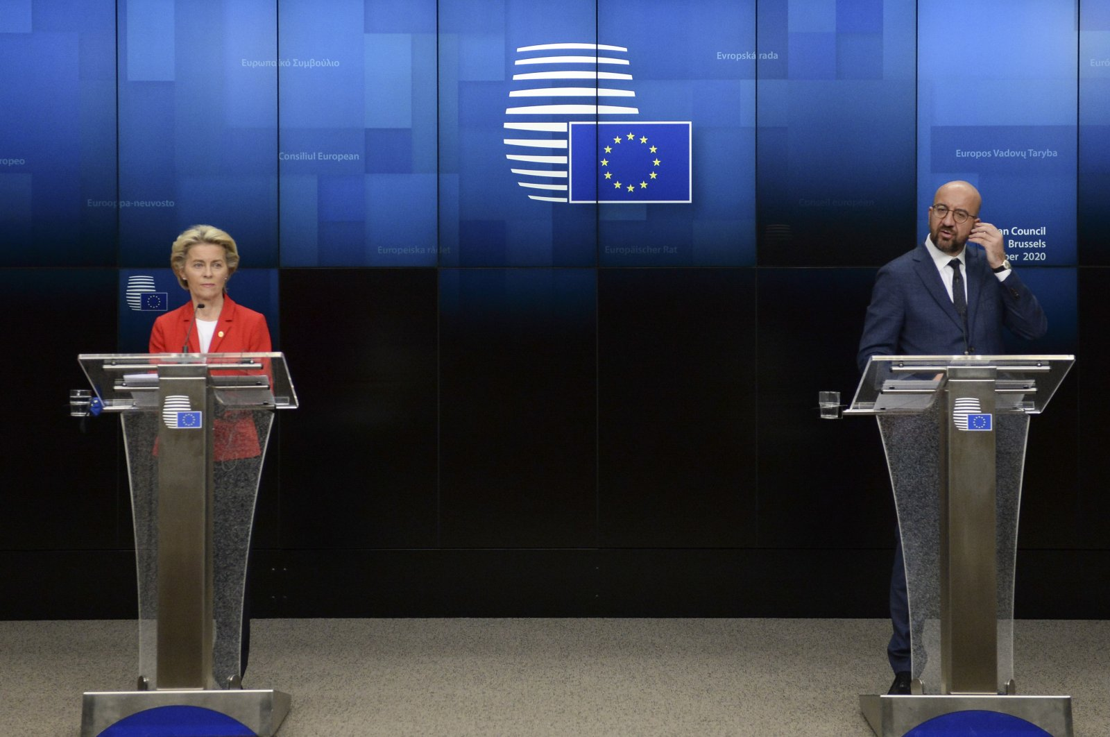 European Council President Charles Michel (R) and European Commission President Ursula von der Leyen participate in a press conference at an EU summit at the European Council building in Brussels, Oct. 2, 2020. (AP)