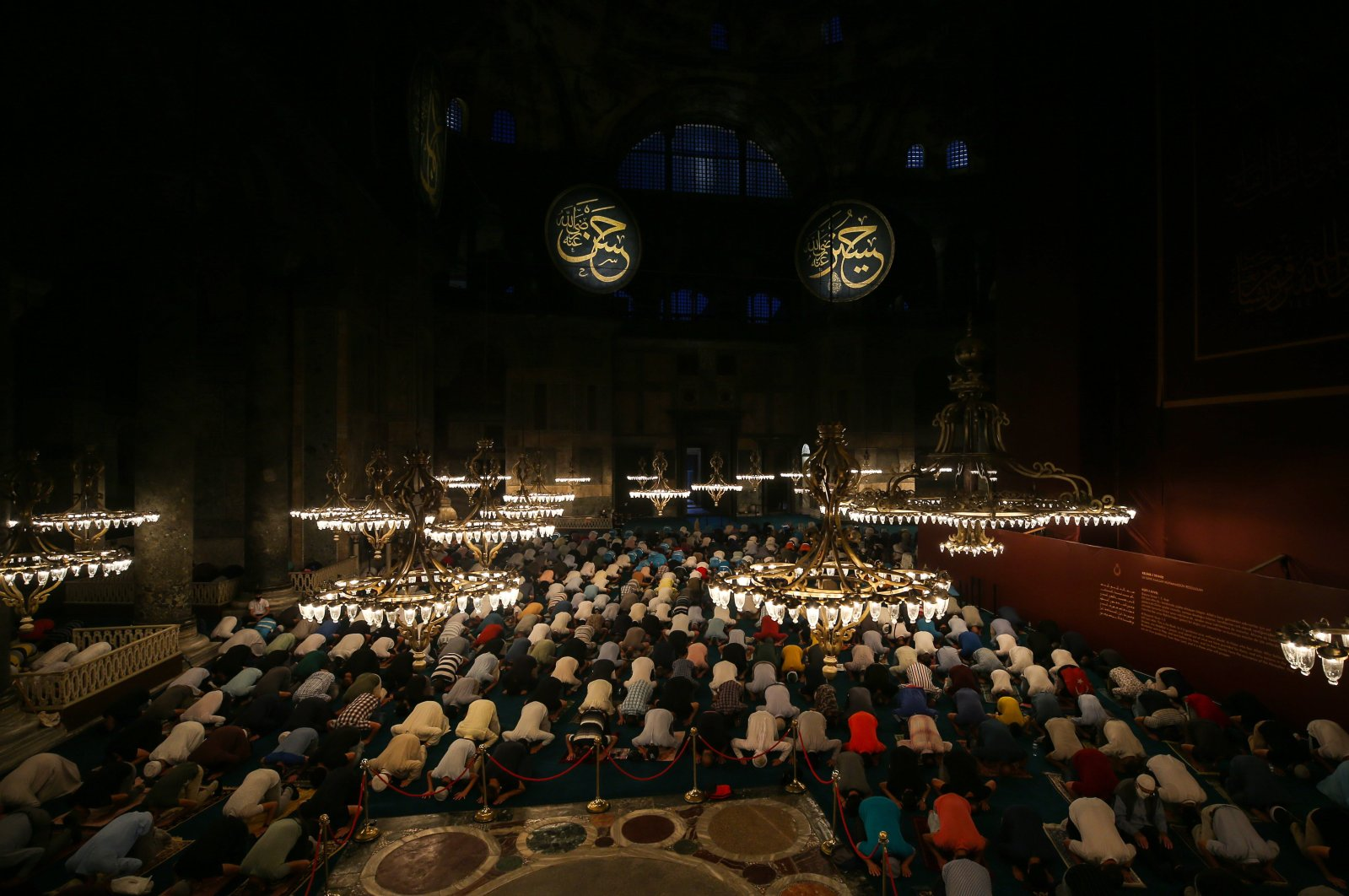 People perform prayers at Hagia Sophia Grand Mosque in Istanbul, Turkey, July 28, 2020. (AA Photo)