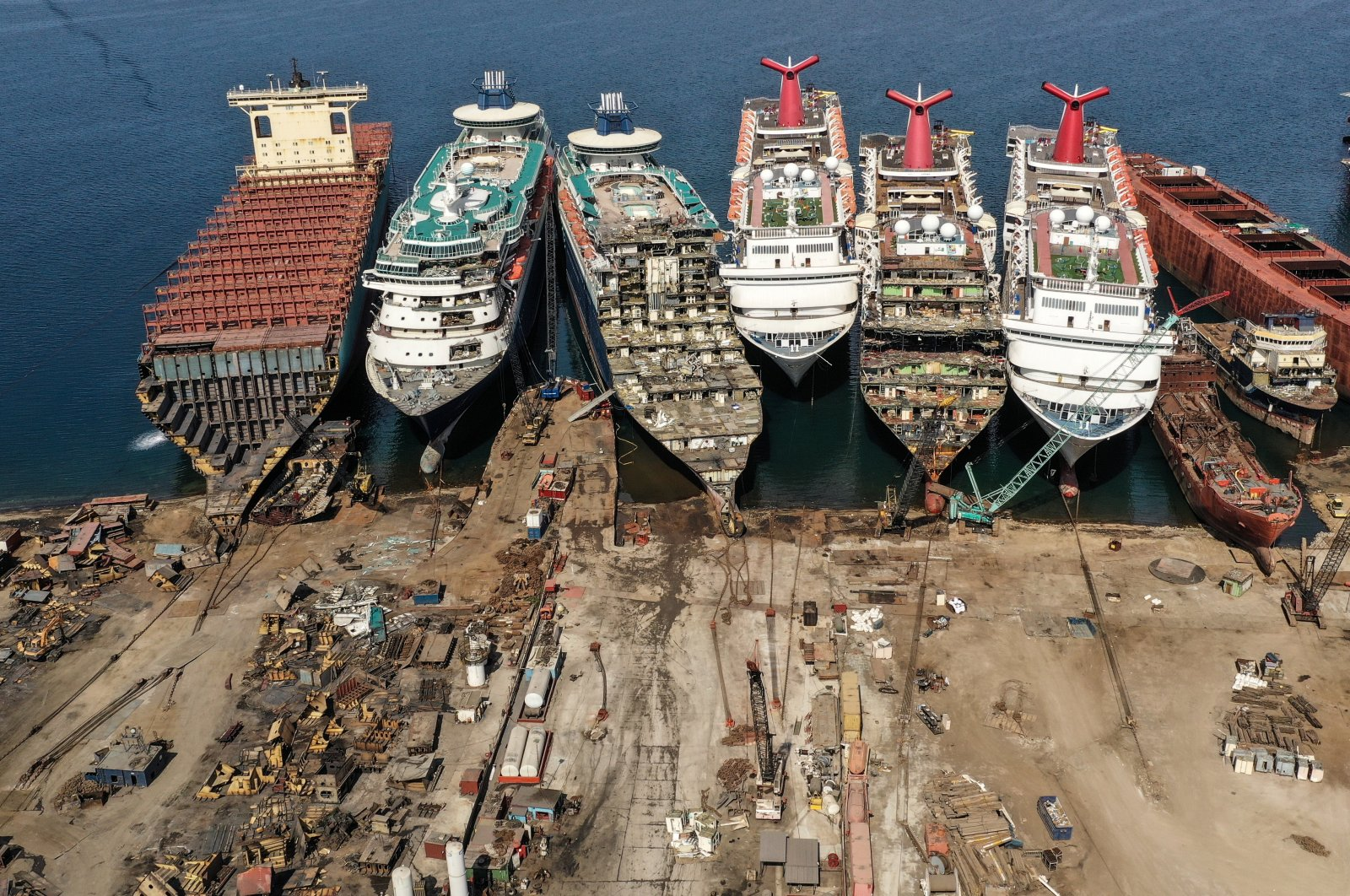 A drone image shows decommissioned cruise ships being dismantled at Aliağa ship-breaking yard in the Aegean port city of Izmir, western Turkey, Oct. 2, 2020. (Reuters Photo)