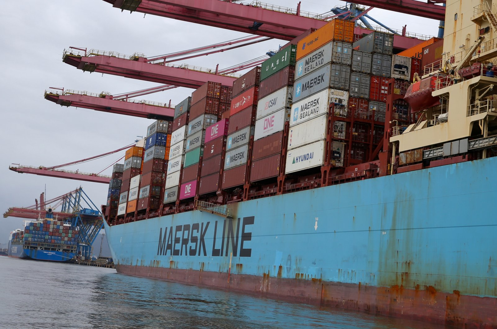 A Maersk ship and containers are seen at the Port of Santos, Brazil Sept. 23, 2019. (Reuters File Photo)