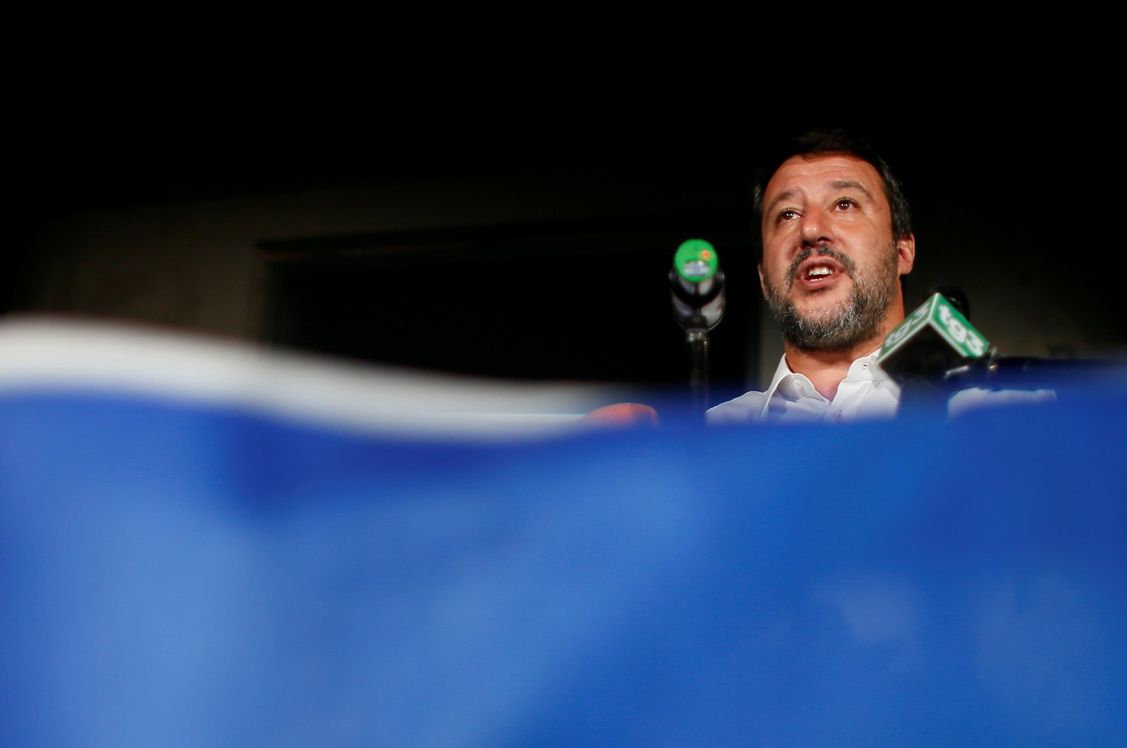 Leader of Italy's far-right League party Matteo Salvini addresses the media on the results of regional elections, in Milan, Italy, Sept. 21, 2020. (Reuters Photo)