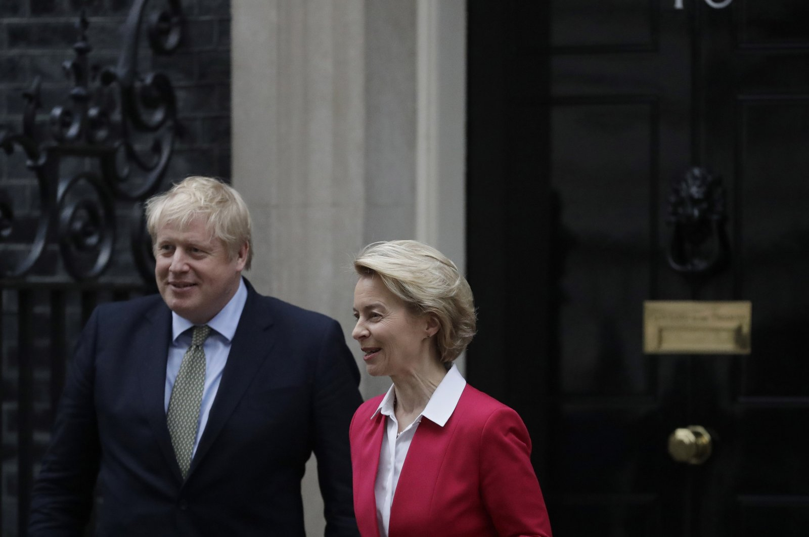 Britain's Prime Minister Boris Johnson greets European Commission President Ursula von der Leyen outside 10 Downing Street in London, Jan. 8, 2020. (AP Photo)