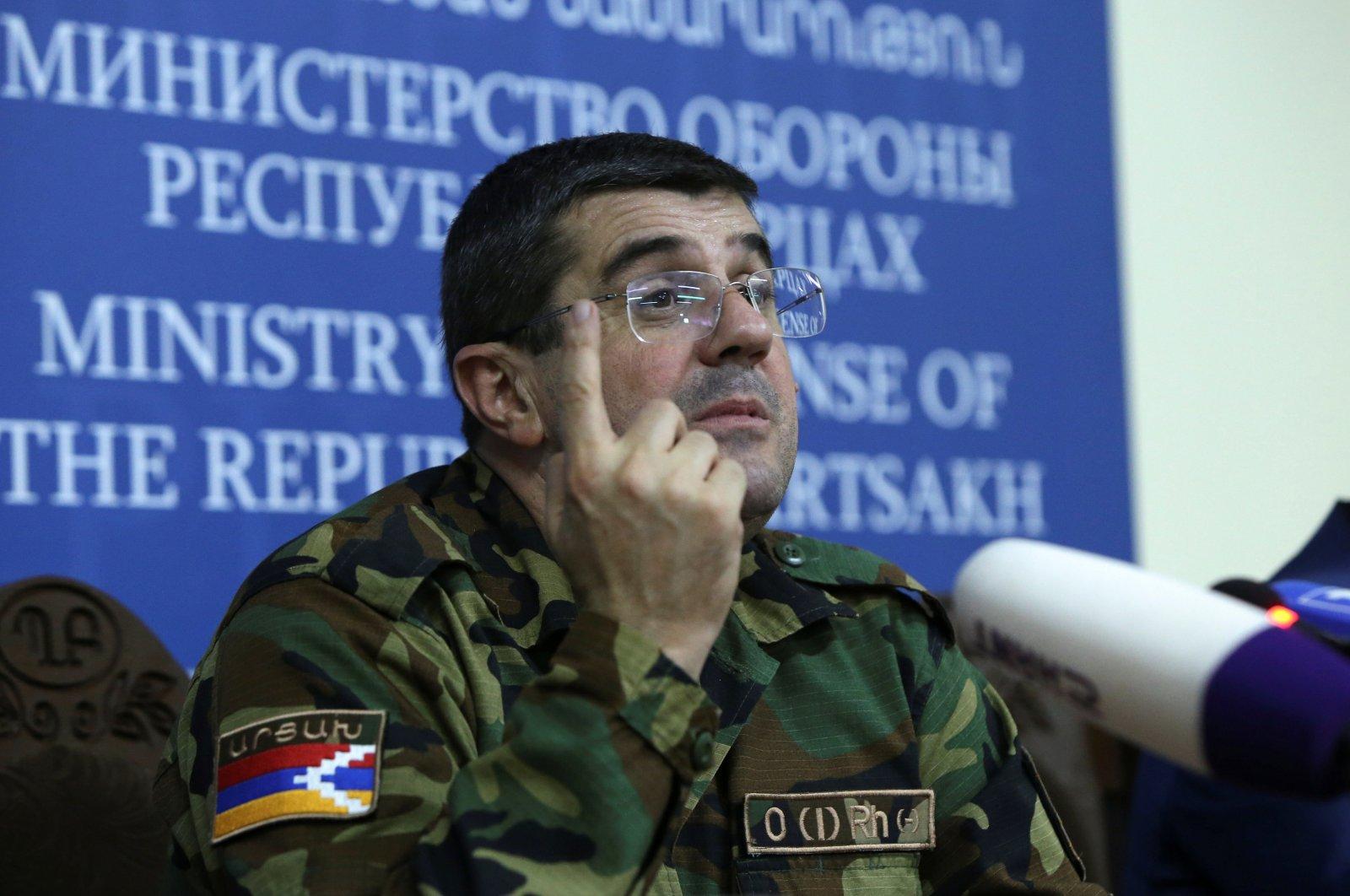"Arayik Harutyunyan, Armenian separatist leader of Azerbaijan's Nagorno-Karabakh region, attends a news conference in Stepanakert (Khankendi), the so-called capital of the unrecognized ""Republic of Artsakh,"" Sept. 27, 2020. (Reuters Photo)"