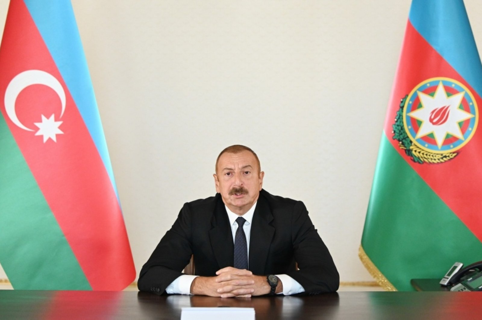 Azerbaijani President Ilham Aliyev makes a statement on the current conflict with Armenia, in Azerbaijan, Sept. 27, 2020. (Azerbaijan Defense Ministry handout)