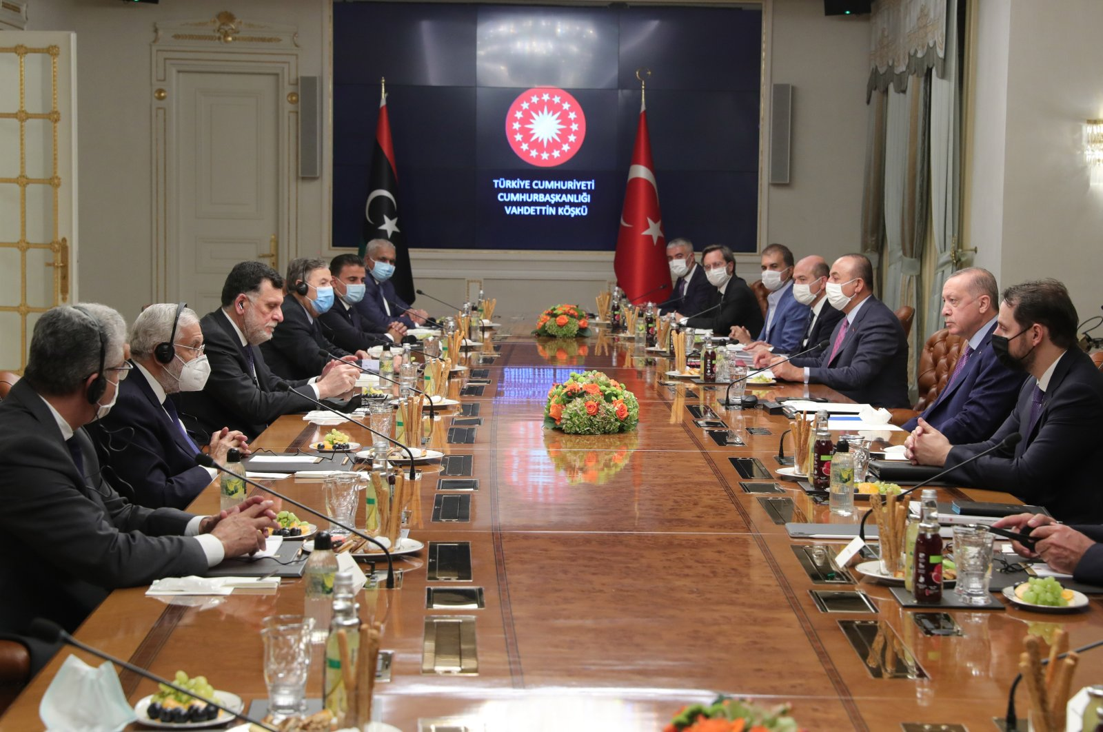Turkish and Libyan delegations attend a meeting at the Vahdettin Mansion in Istanbul, Turkey, Oct. 4, 2020. (IHA Photo)