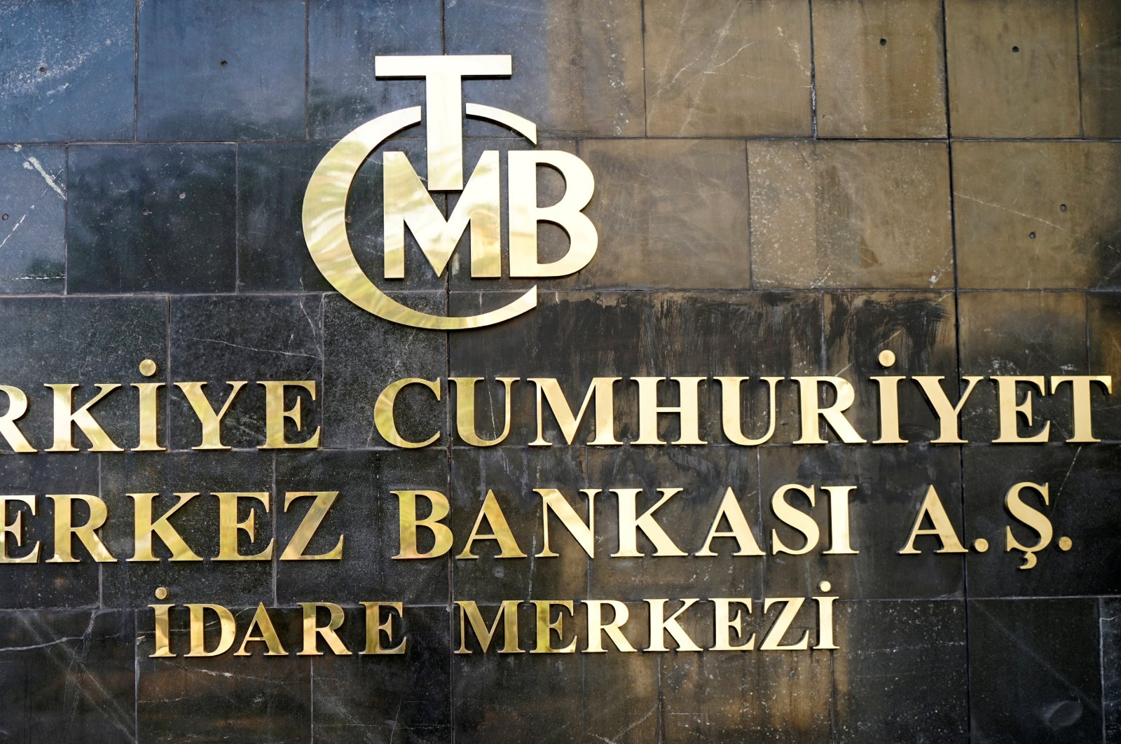A logo of Turkey's central bank at the entrance of the bank's headquarters in capital Ankara, Turkey, April 19, 2020. (Reuters Photo)