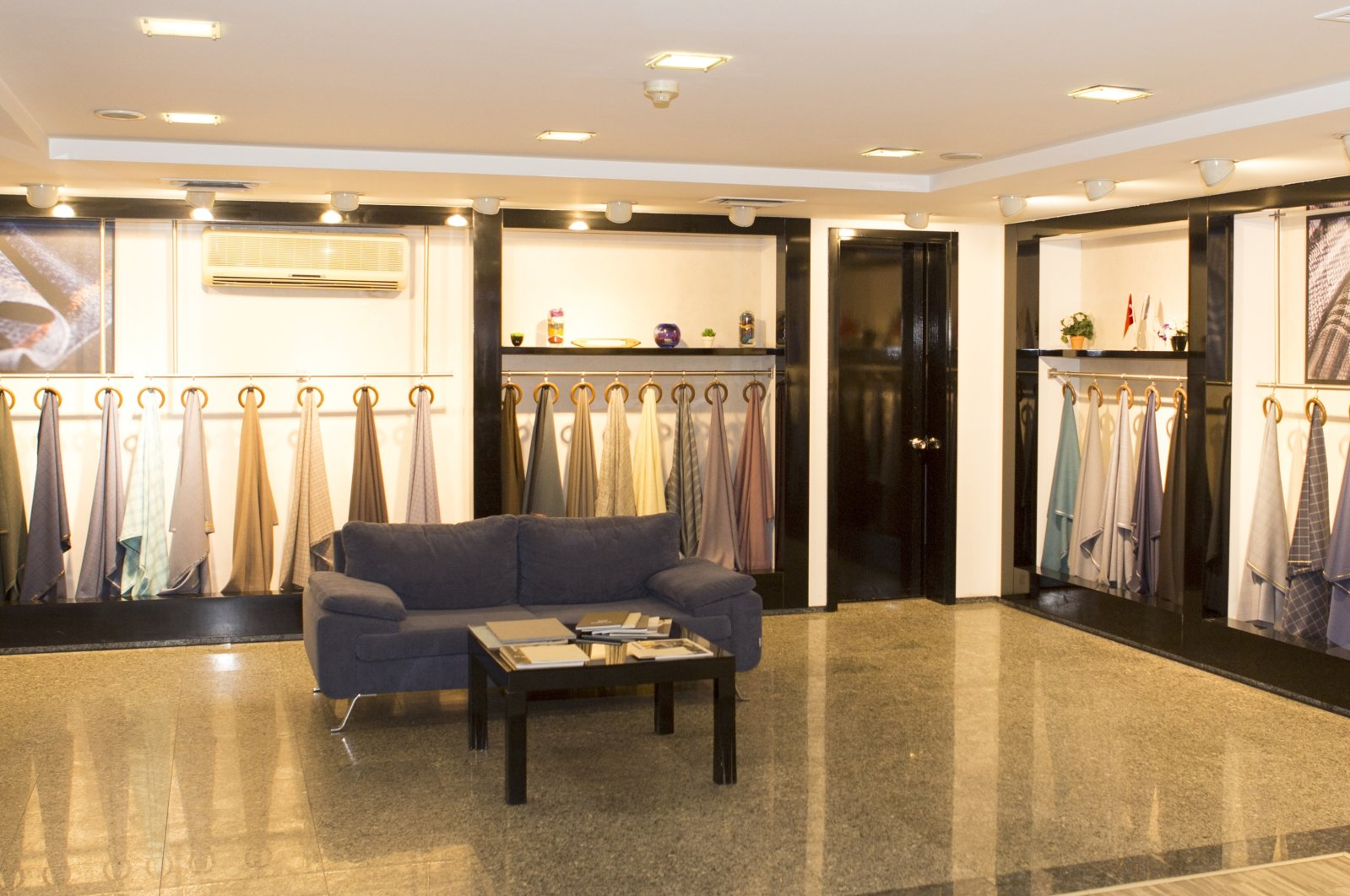 Fabric is on display in a space belonging to JMK Tekstil, Istanbul, provided on Oct. 5, 2020. (Photo by JMK Tekstil via AA)