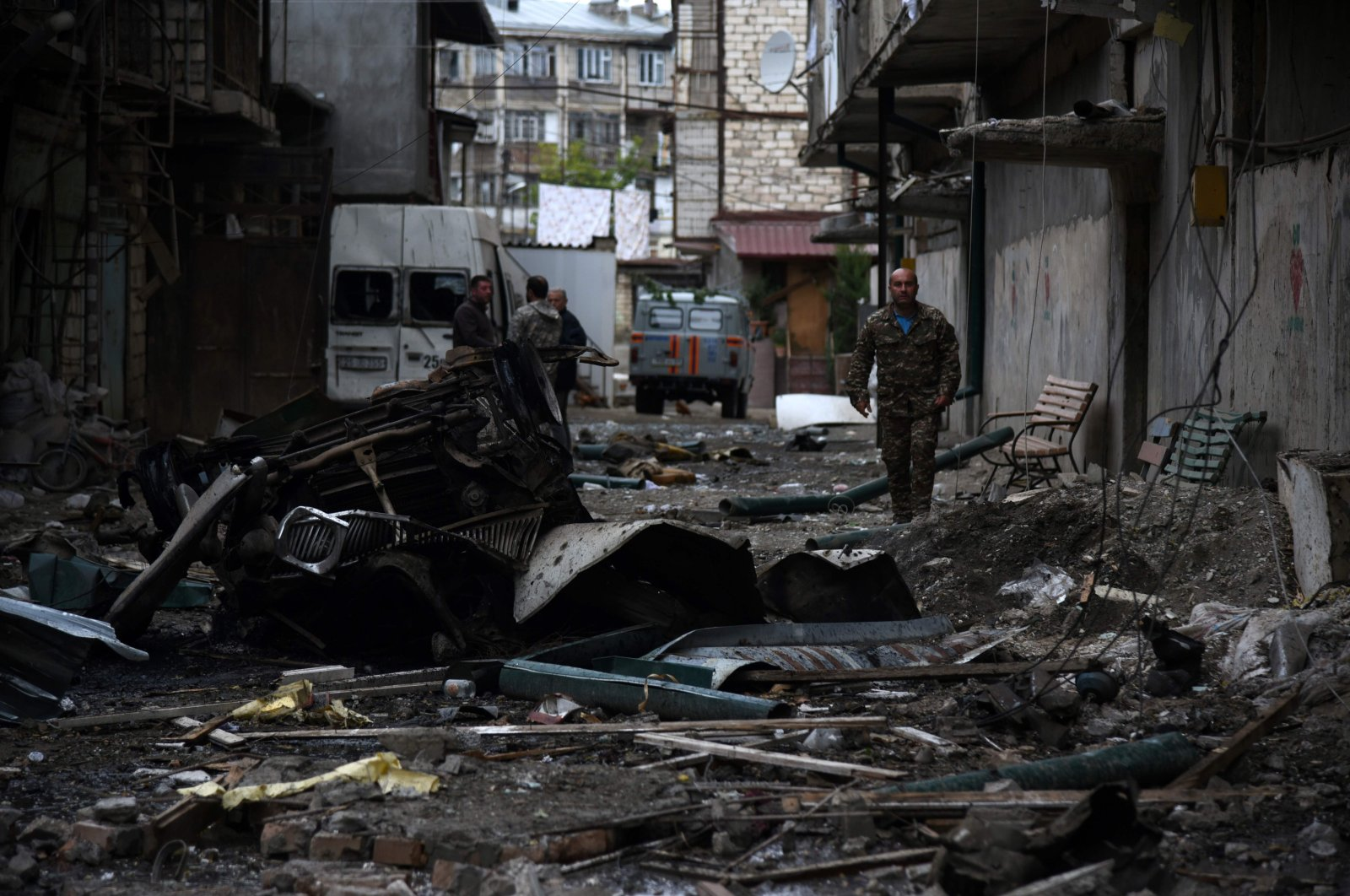 A view shows the aftermath of recent shelling during the ongoing fighting between Armenia and Azerbaijan over the occupied Nagorno-Karabakh region, Oct. 4, 2020. (AFP)