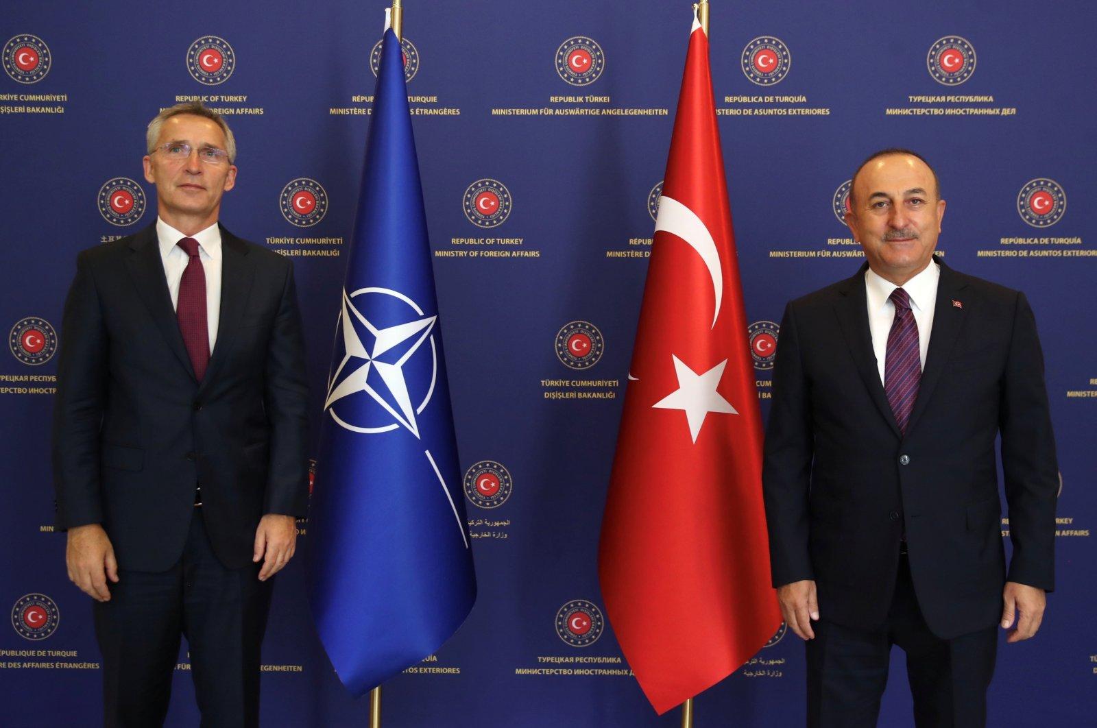 Turkish Foreign Minister Mevlüt Çavuşoğlu meets with NATO Secretary-General Jens Stoltenberg in capital Ankara, Turkey, Oct. 5, 2020. (Reuters Photo)