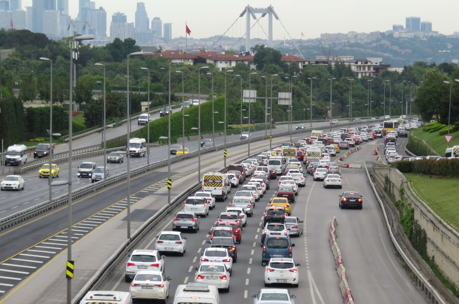 Cars on a highway near the July 15 Martyrs Bridge, formerly known as the Bosporus Bridge, Istanbul, June 2, 2020. (DHA Photo)