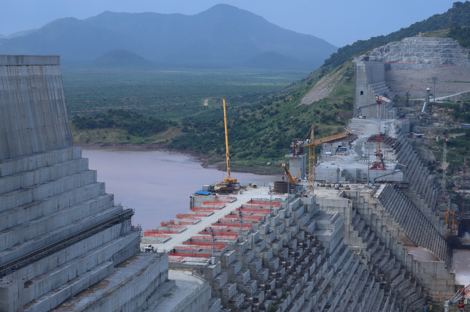Ethiopia's Grand Renaissance Dam is seen as it undergoes construction work on the Nile in Guba Woreda, the Benishangul Gumuz Region, Ethiopia, Sept. 26, 2019. (Reuters Photo)