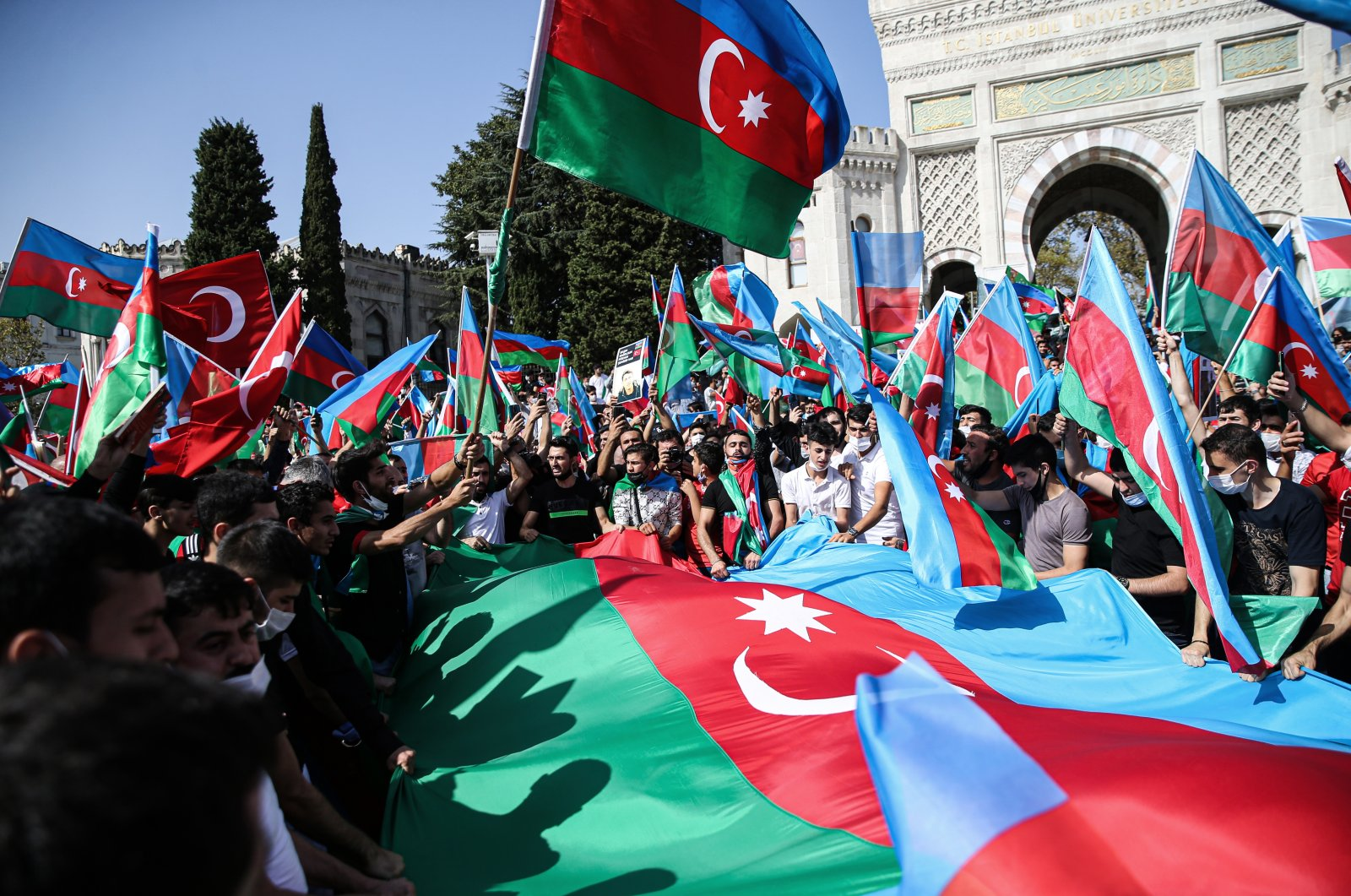 People in Istanbul's Beyazıt district attend a pro-Azerbaijan rally, Turkey, Oct. 4, 2020. (AA Photo)