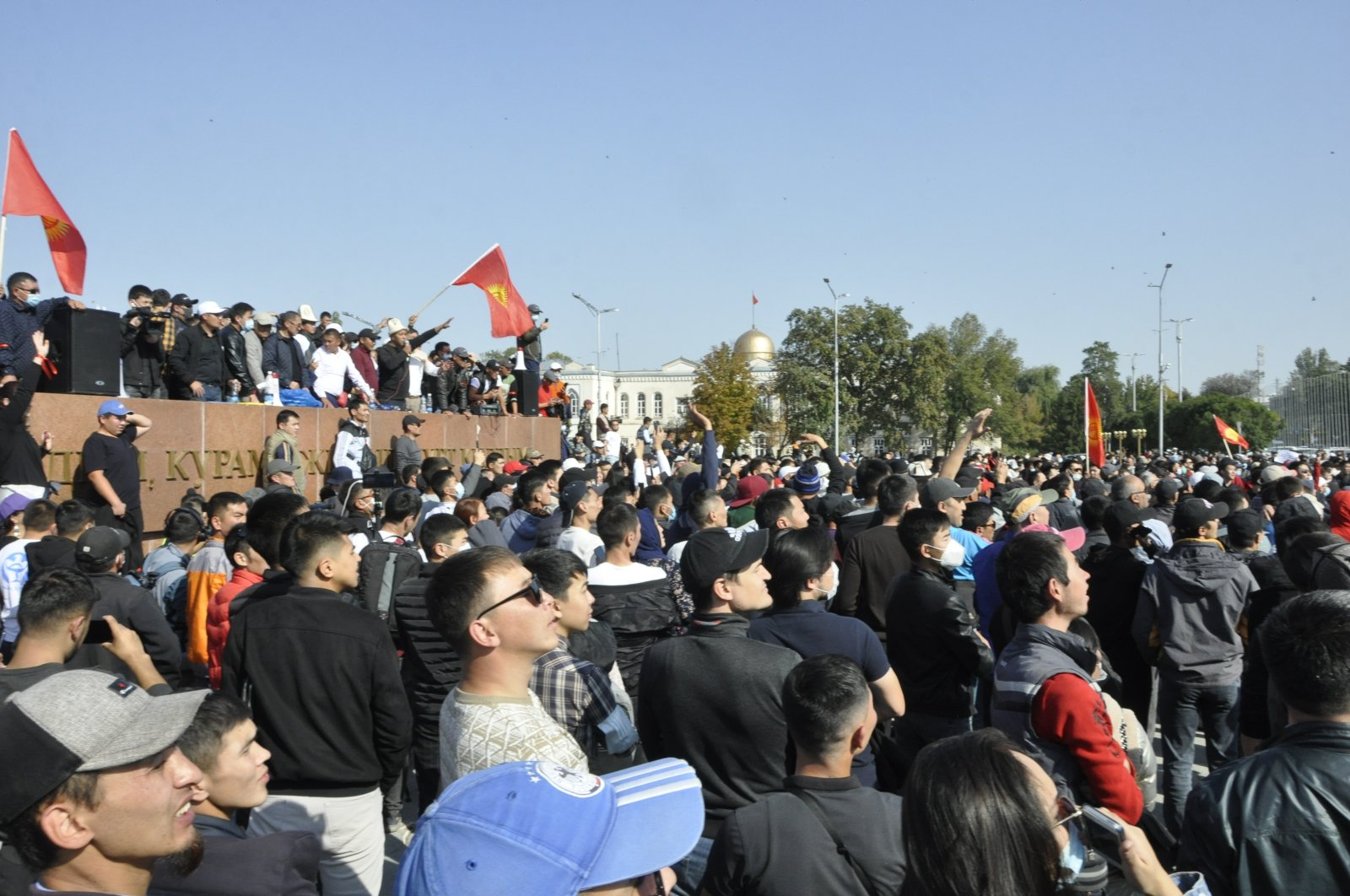 Thousands gathered in Kyrgyzstan's capital Bishkek Monday to protest the results of a parliamentary ballot, Oct. 5, 2020. (AA Photo)