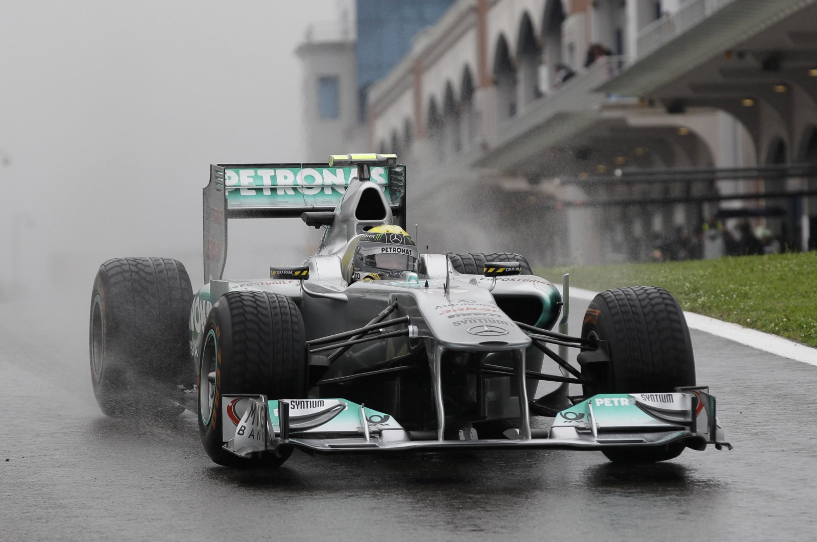 Mercedes driver Nico Rosberg steers his car during a free practice session before the Turkish Grand Prix race, at the Istanbul Park circuit racetrack, in Istanbul, Turkey, May 6, 2011. (AP Photo)