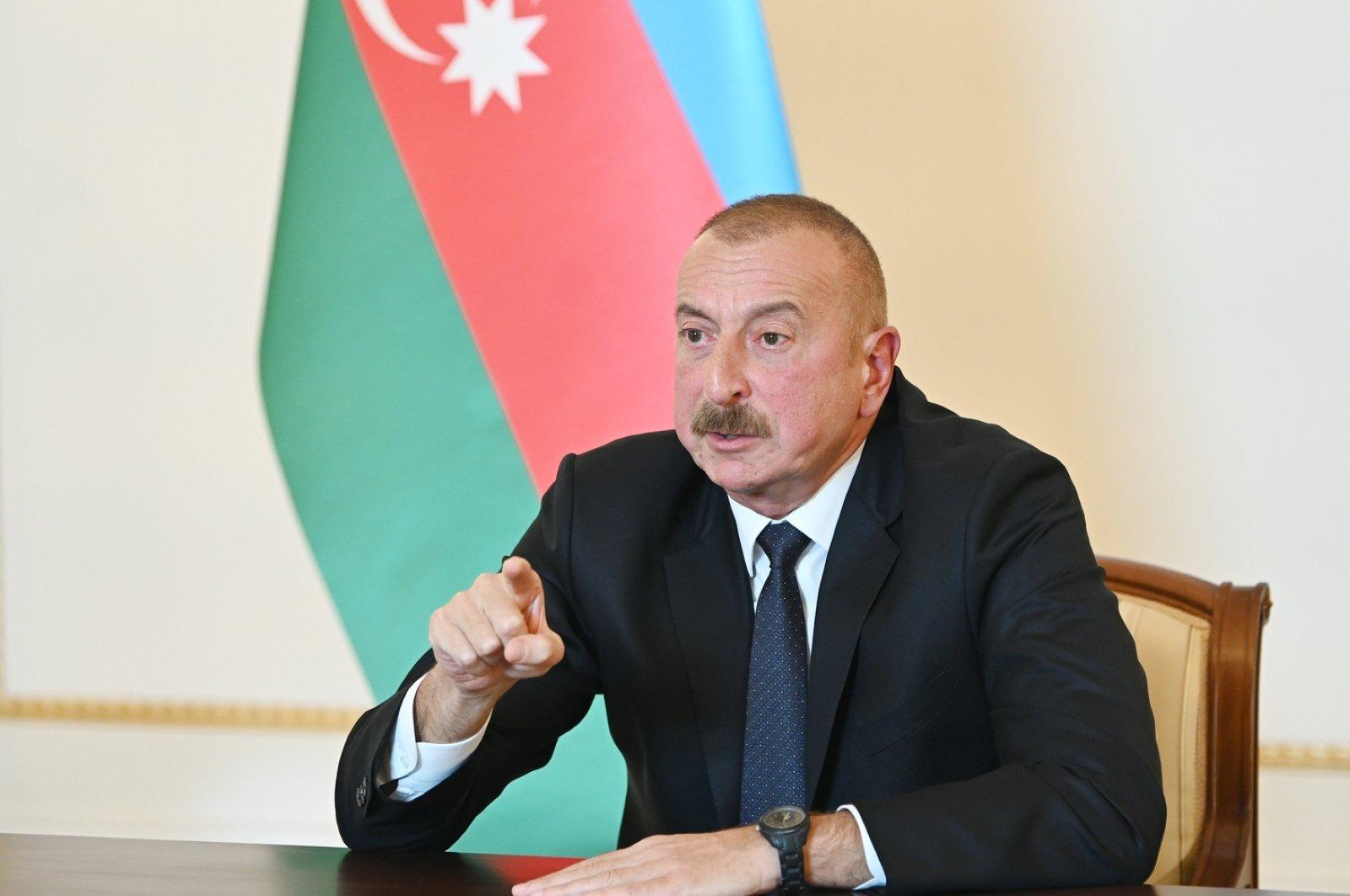 Azerbaijani President Ilham Aliyev holds a televised address to the nation in Baku, Oct. 4, 2020. (AFP Photo / Azerbaijani Presidency / Handout)