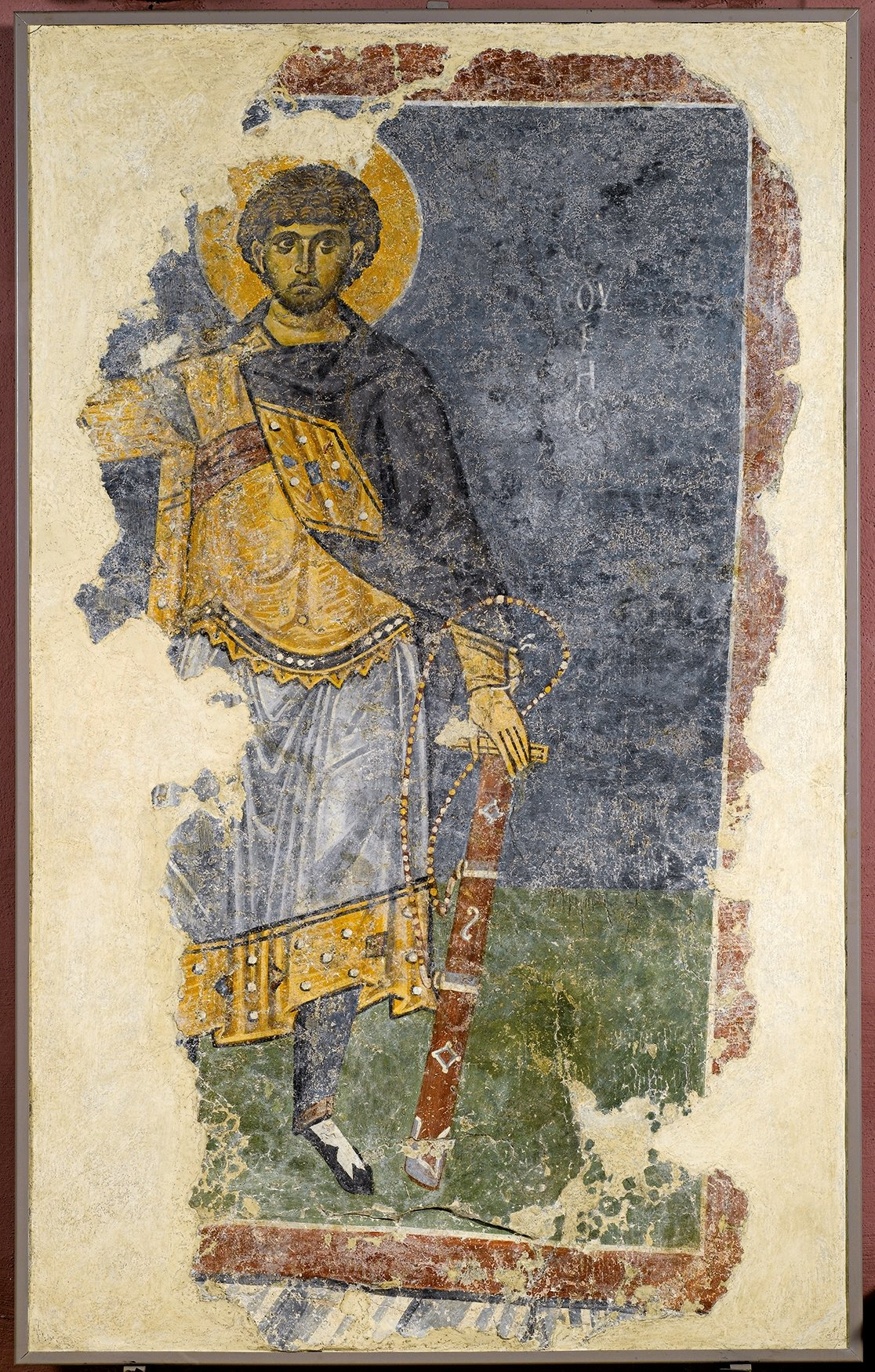 Fresco depicting Saint Mercurios, 13th-14th century, paint on plaster, 167 by 105 by 11 centimeters, selected from Istanbul Archaeology Museums, Istanbul, Turkey. (Courtesy of SSM)