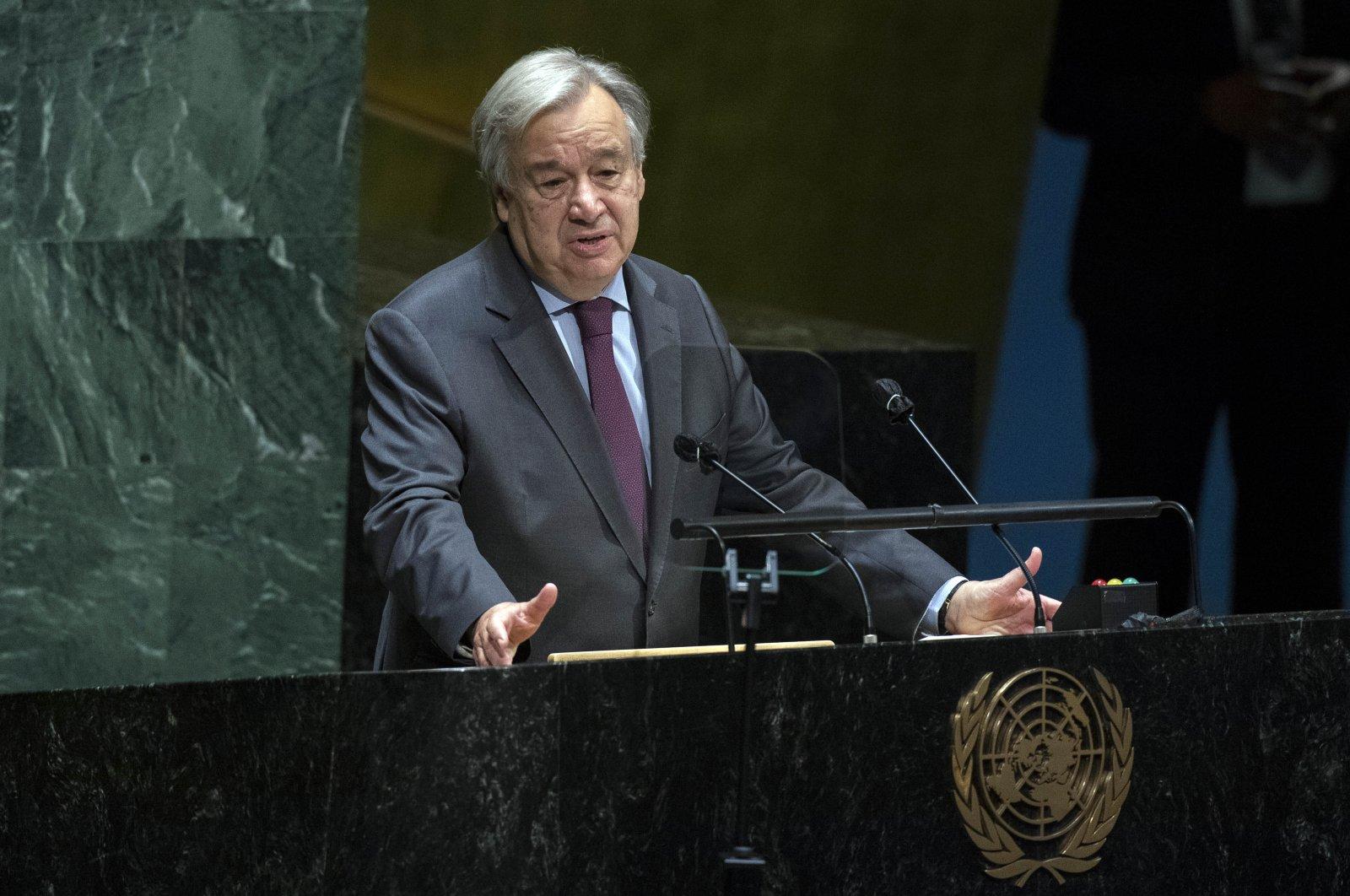 United Nations Secretary-General Antonio Guterres speaks in the U.N. General Assembly in New York City, New York, U.S., Oct. 1, 2020. (AP Photo)