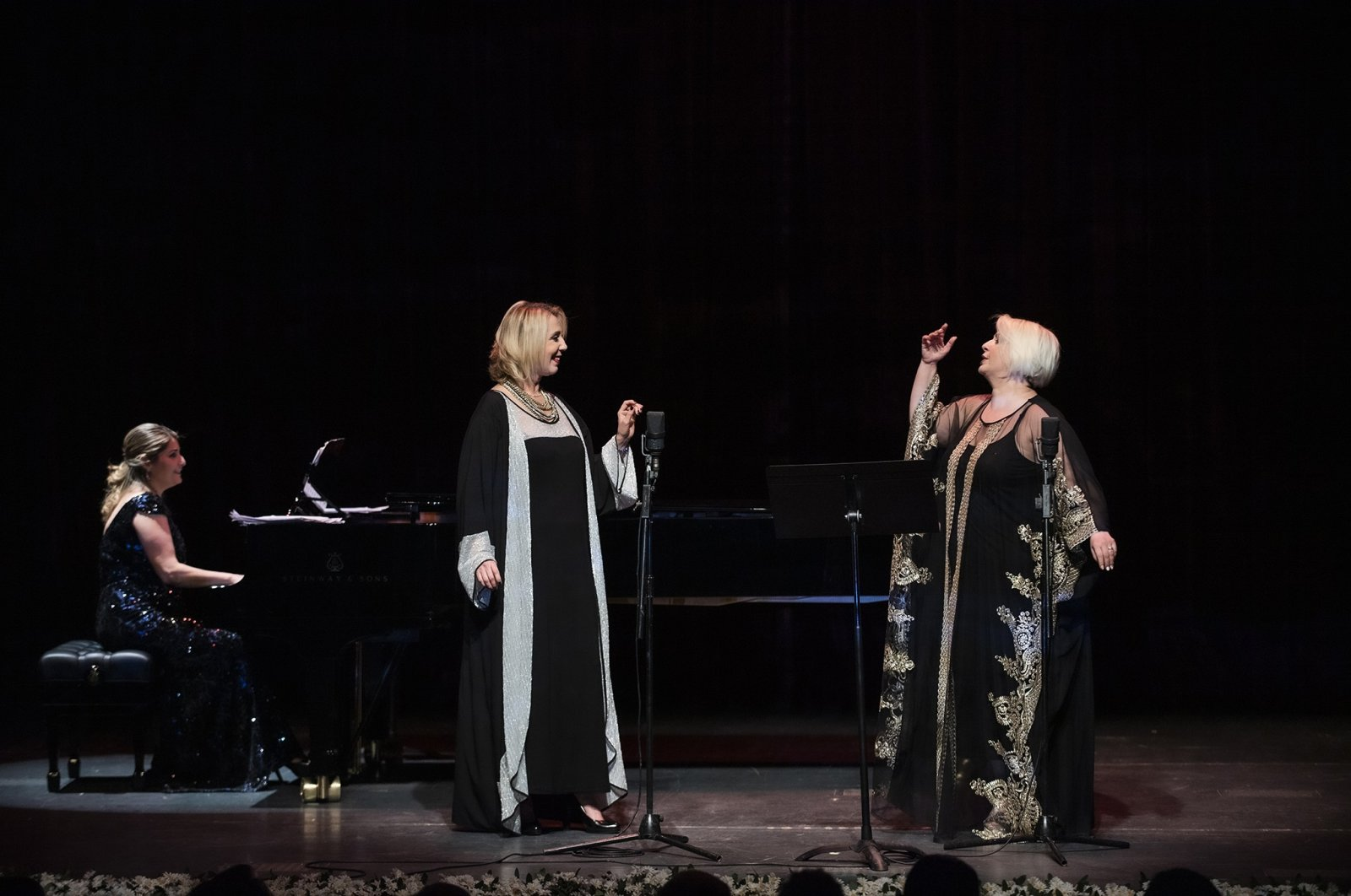 "Pianist Melahat Ismailova (L), mezzo-soprano Ferda Yetişer (C) and soprano Feryal Türkoğlu will perform the ""World Songs"" concert at Ankara Opera House on Oct. 10, 2020. (İHA PHOTO)"