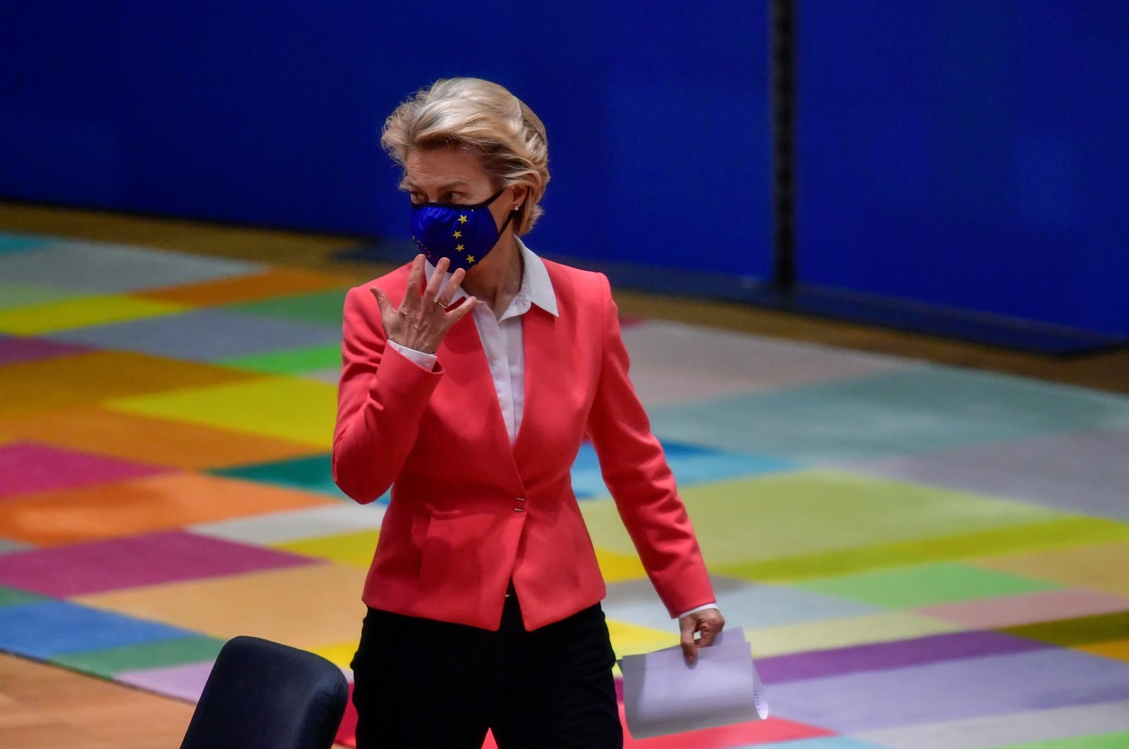 European Commission President Ursula von der Leyen gestures as she arrives for a roundtable meeting during the second face-to-face European Union summit since the coronavirus disease (COVID-19) outbreak, in Brussels, Oct. 2, 2020. (Reuters Photo)