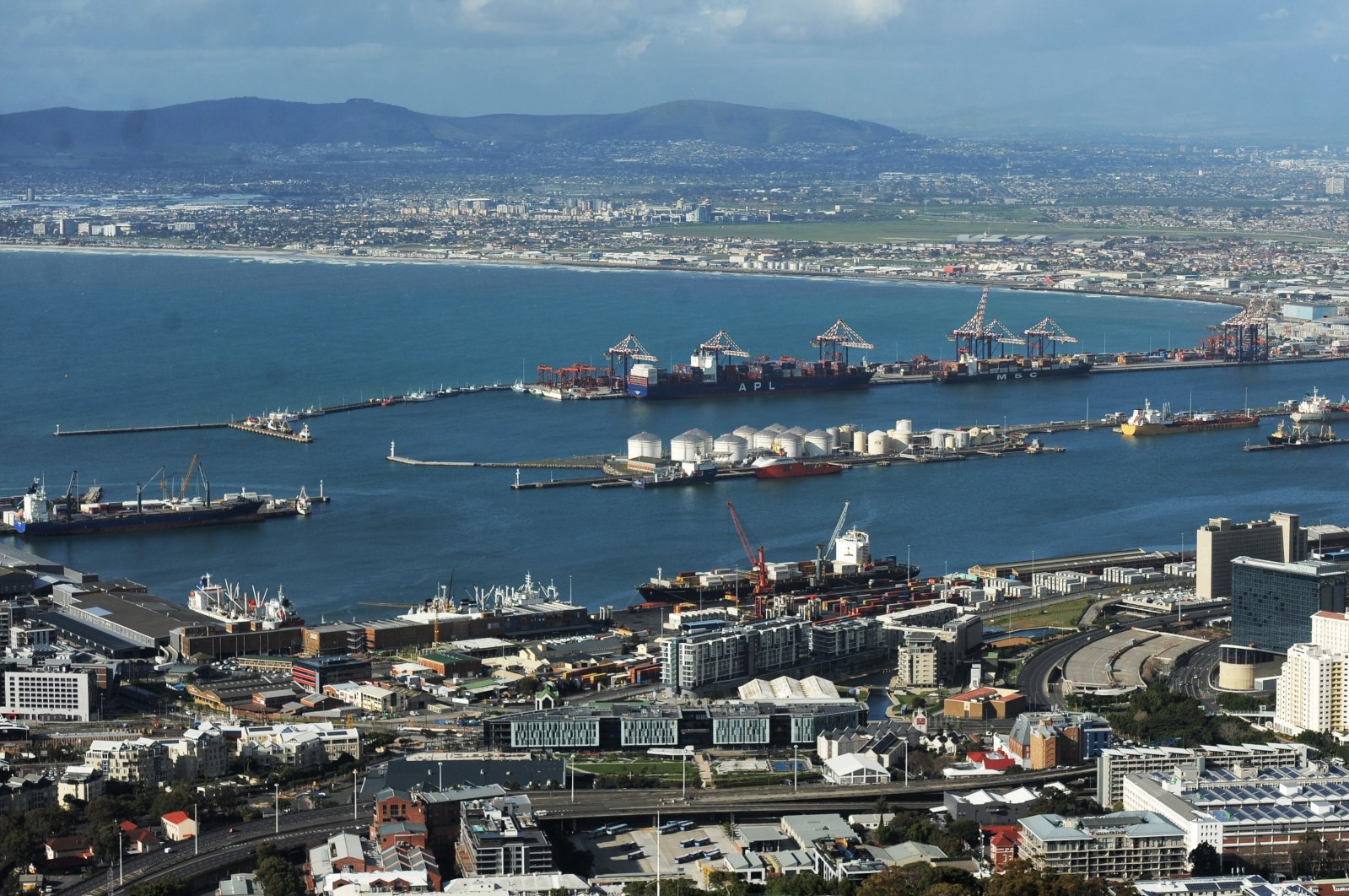 Lots of activities in and around the Port of Cape Town indicate that the import and export trade in picking up, in Cape Town, South Africa, Aug. 11, 2020. (Reuters Photo)