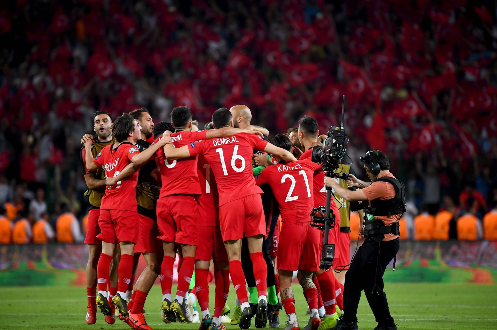 Turkey players celebrate after a Euro 2020 qualification match, in Konya, Turkey, June 8, 2019. (AFP Photo)