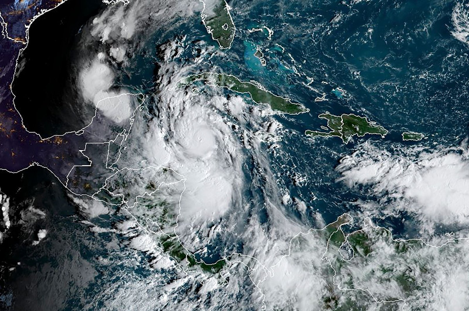 A satellite image shows Tropical Storm Delta in the Caribbean, Oct. 6, 2020. (AFP Photo/RAMMB/NOAA)