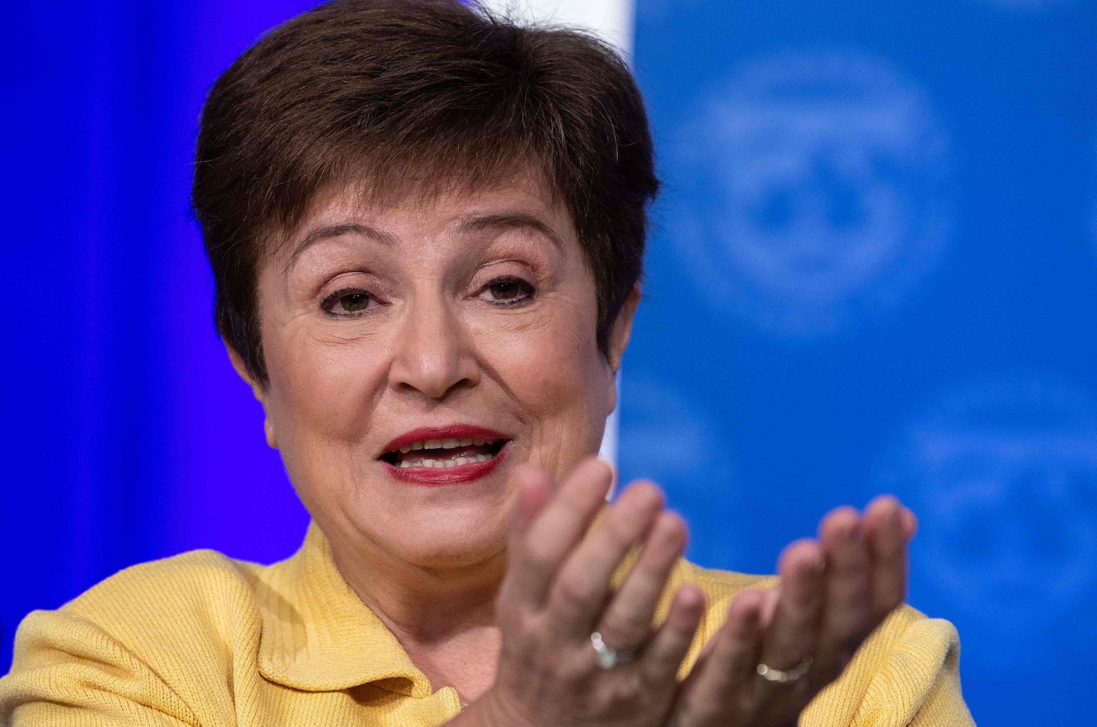 IMF Managing Director Kristalina Georgieva speaks at a press briefing on COVID-19 in Washington, D.C., U.S., March 4, 2020. (AFP Photo)