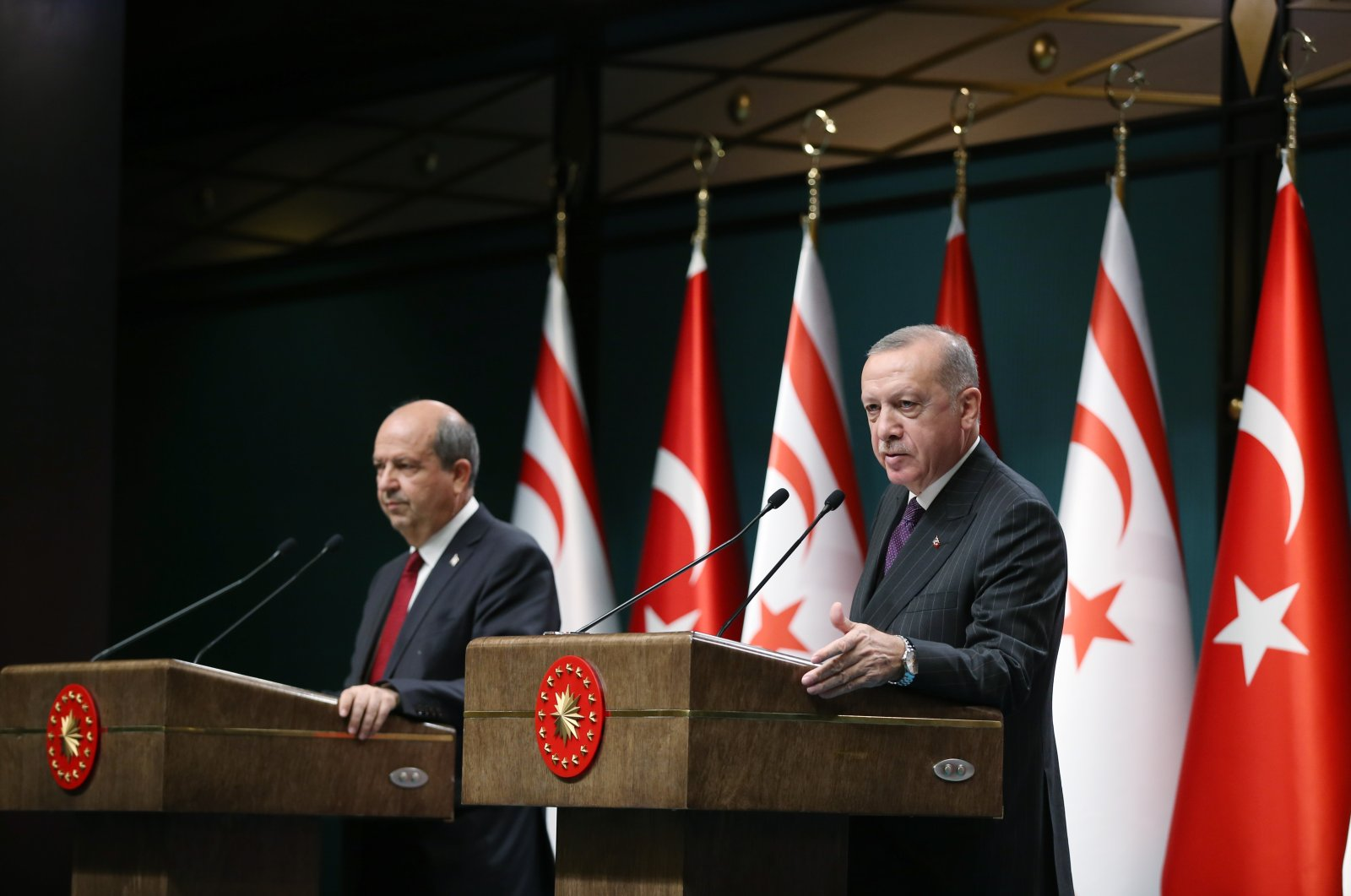 President Recep Tayyip Erdoğan speaks during a press conference with Turkish Republic of North Cyprus (TRNC) Prime Minister Ersin Tatar, Aug. 23, 2019. (AA Photo)